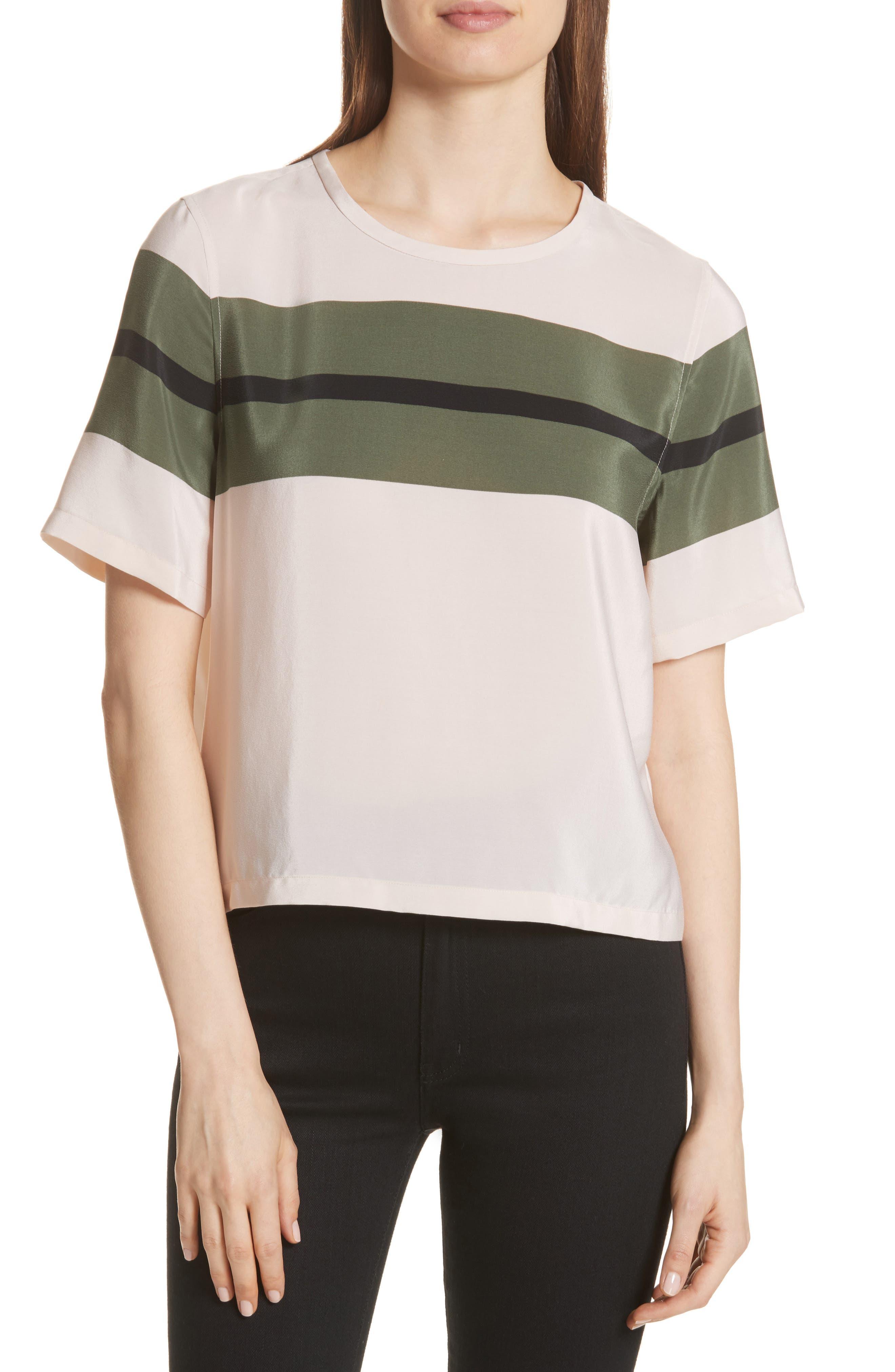 Brynn Stripe Silk Tee,                         Main,                         color, French Vanilla-Camouflage
