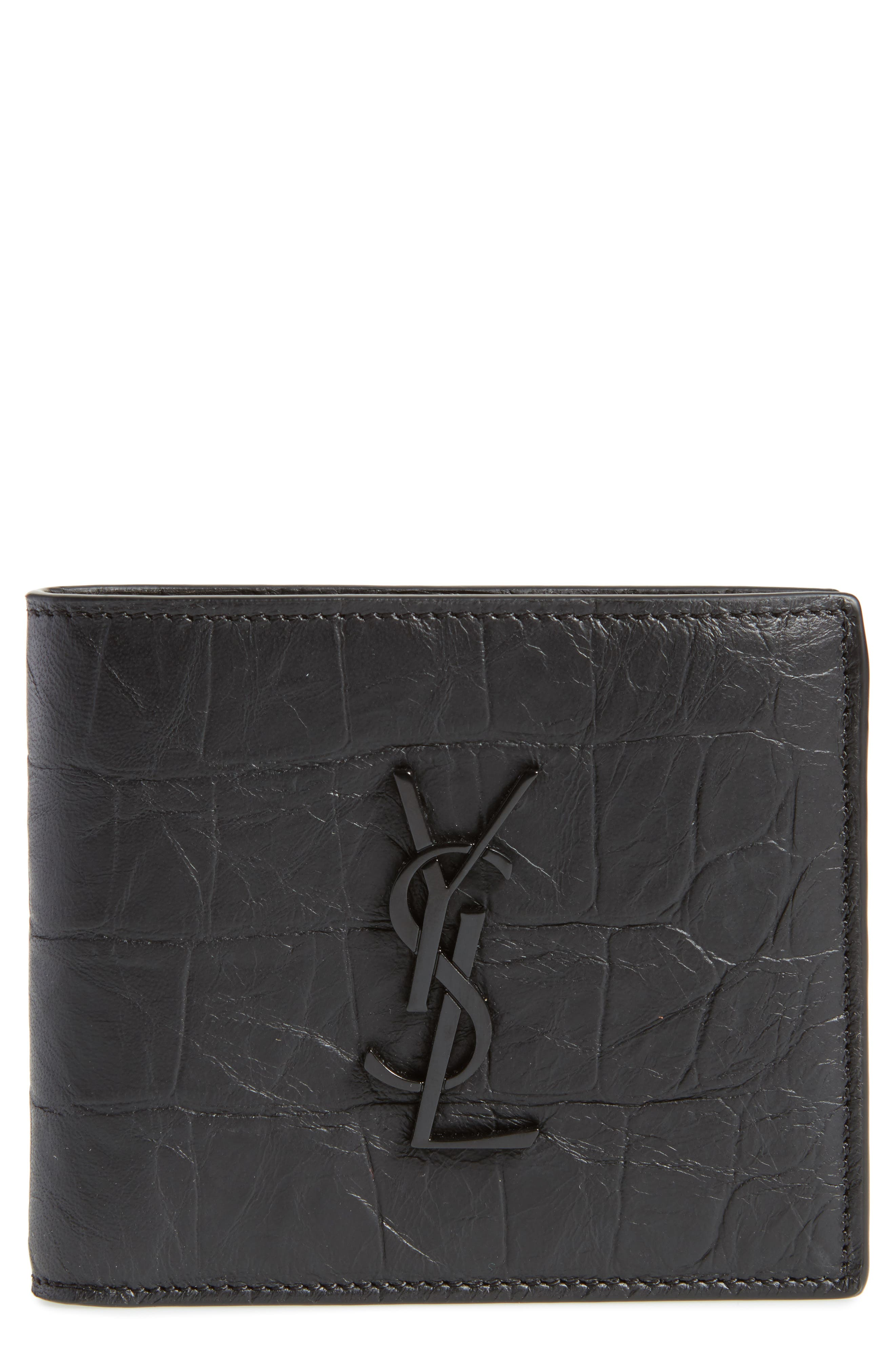 Croc Embossed Leather Wallet,                             Main thumbnail 1, color,                             Black