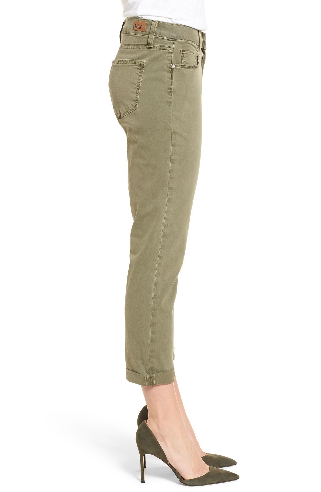 Brigitte Crop Boyfriend Jeans,                             Alternate thumbnail 3, color,                             Vintage Green