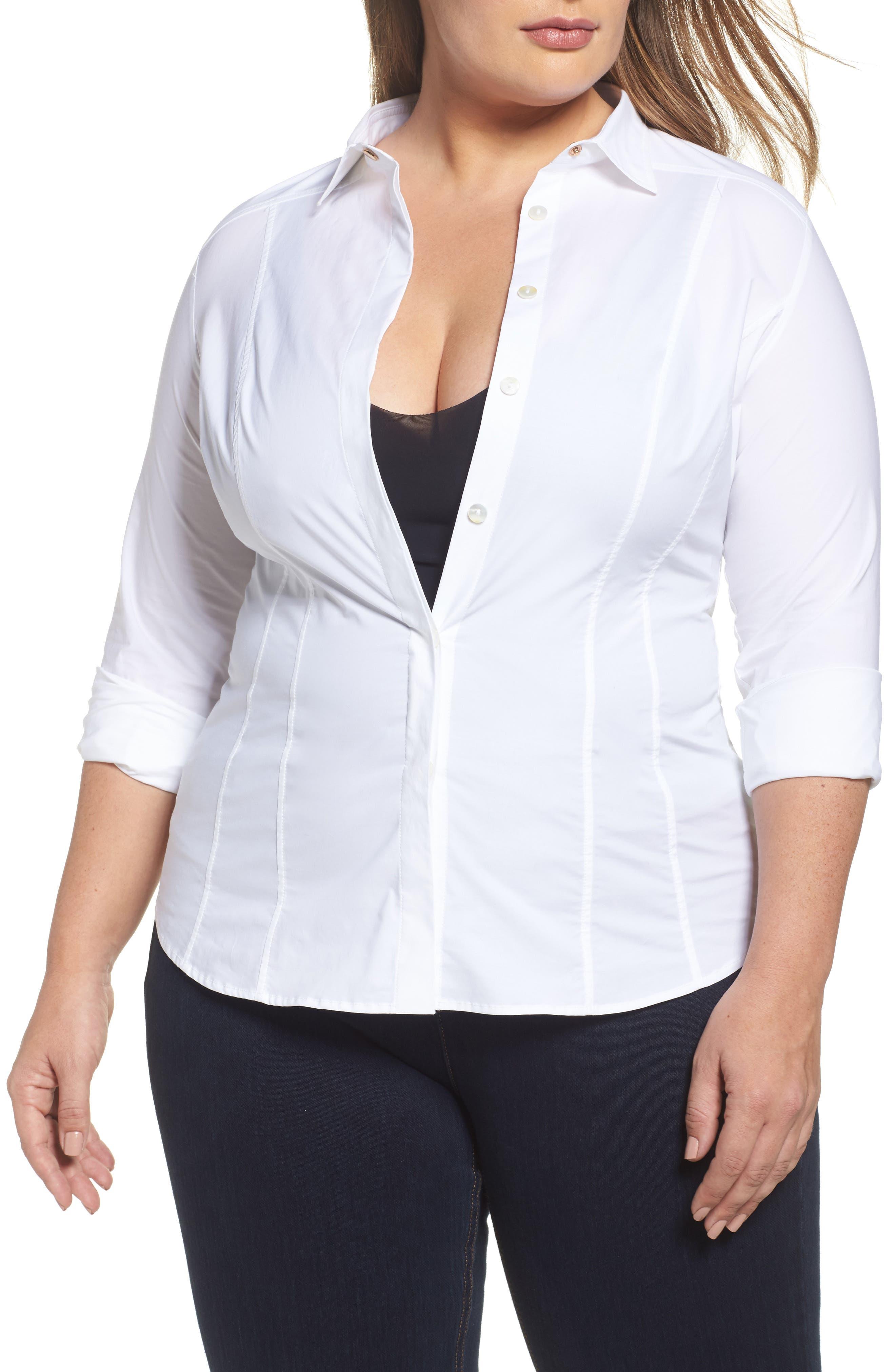 Ashley Graham x Marina Rinaldi Beauty Poplin Button Down Shirt (Regular & Plus Size)