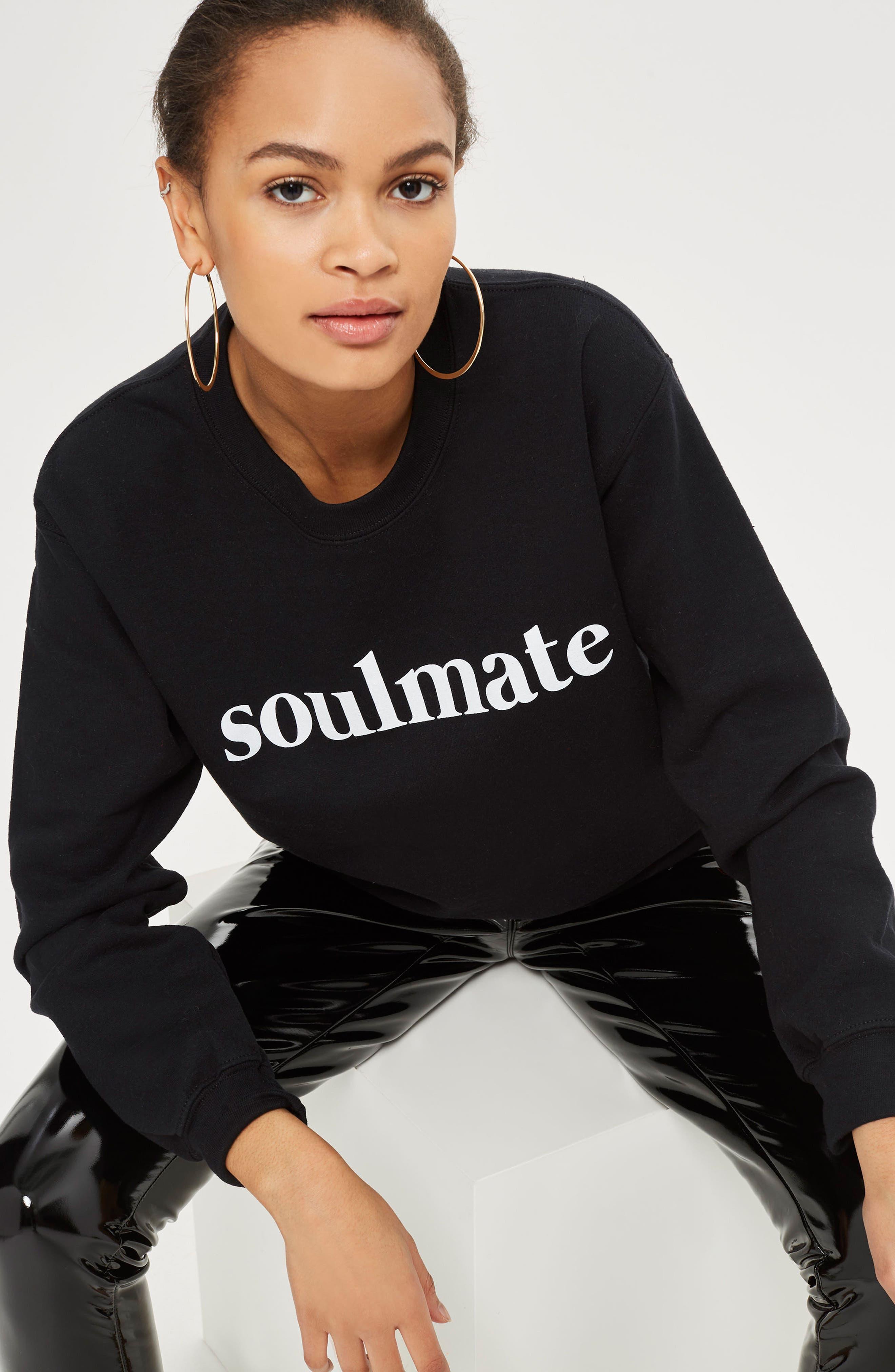 Soulmate Graphic Sweatshirt,                             Alternate thumbnail 2, color,                             Black Multi