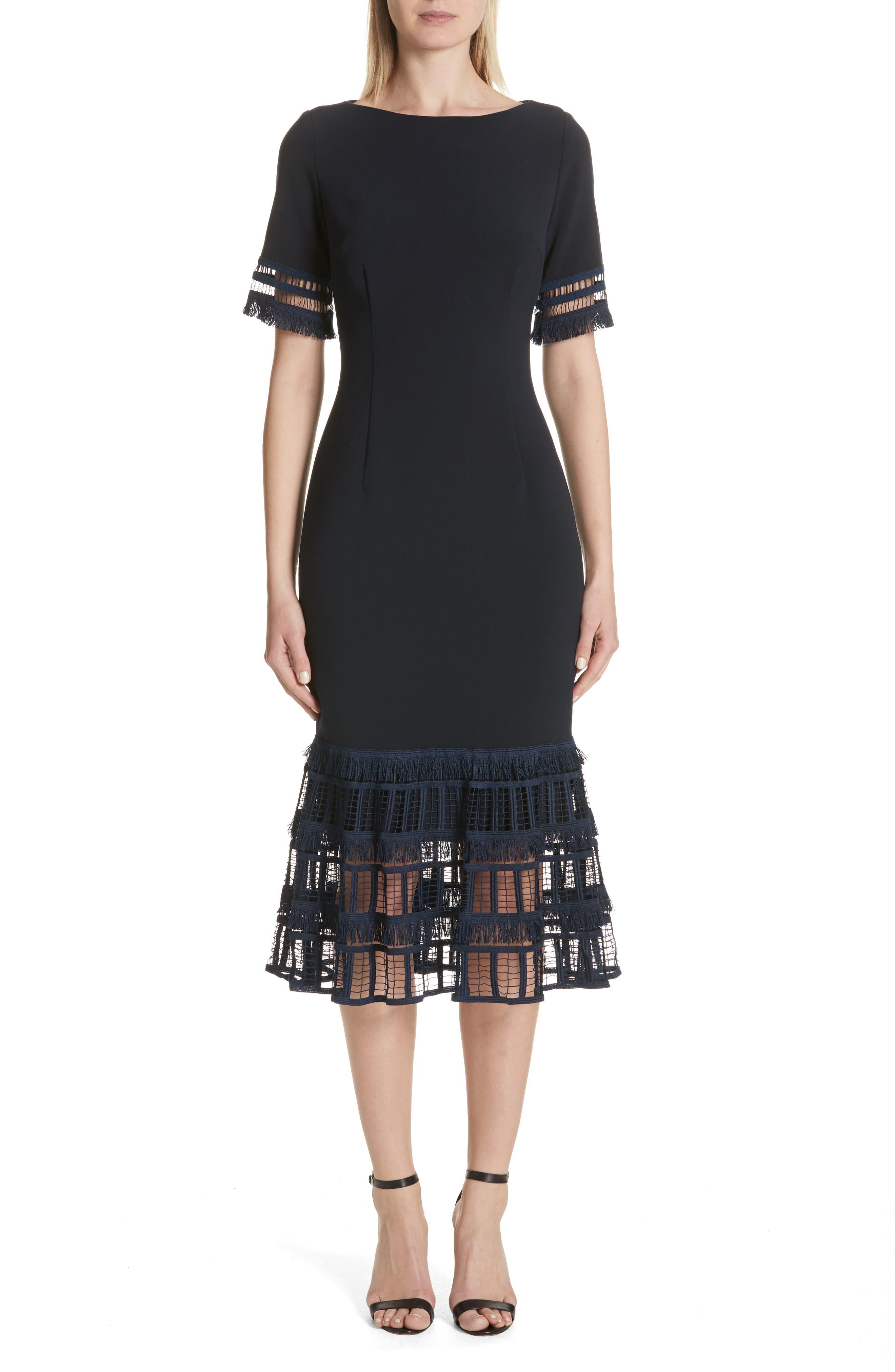 Fringe Flare Hem Sheath Dress,                         Main,                         color, Navy