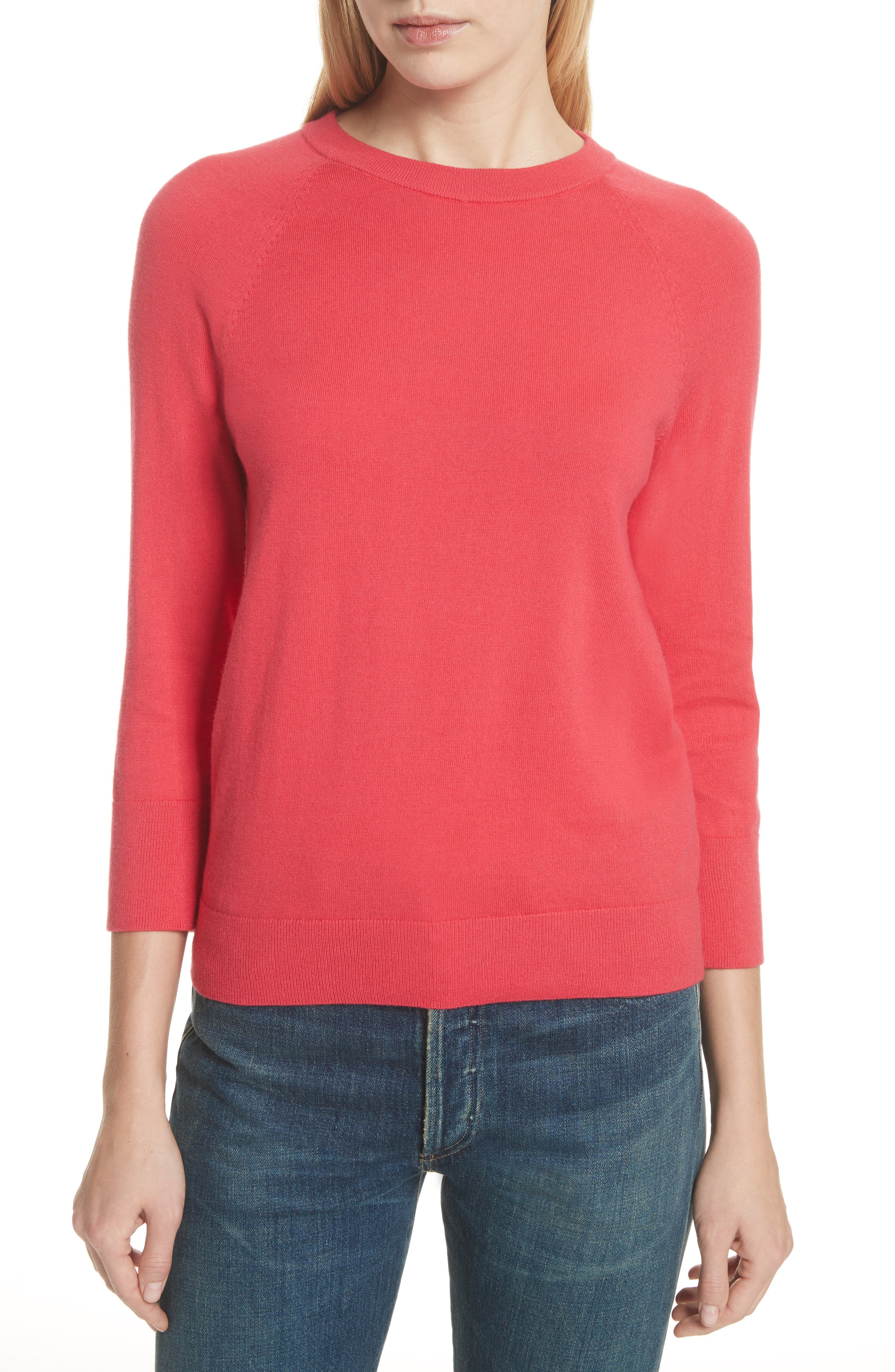 Cotton & Cashmere Sweater,                             Main thumbnail 1, color,                             Charged Pink