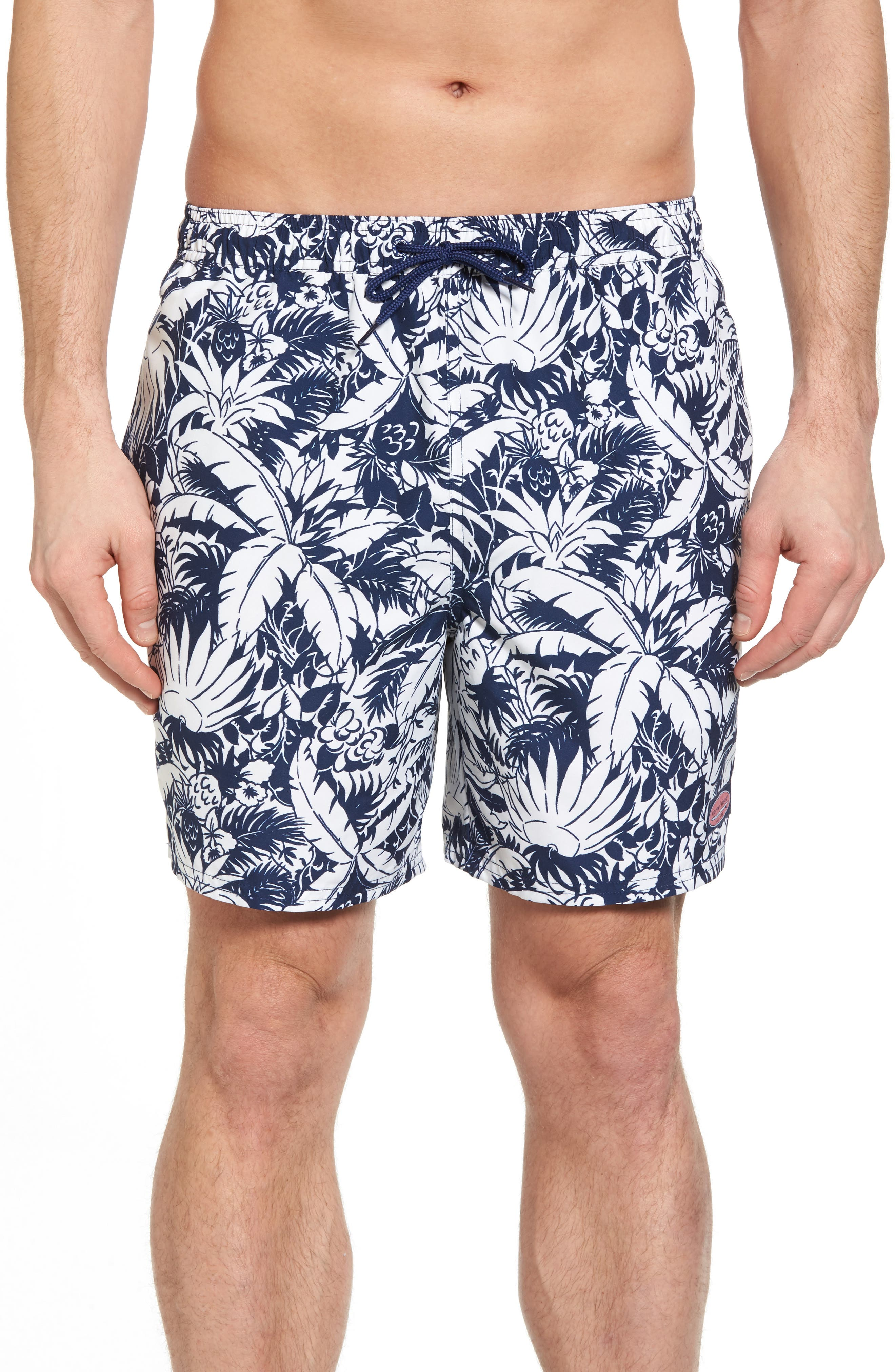 Chappy Pineapple in Palms Swim Trunks,                         Main,                         color, Deep Bay
