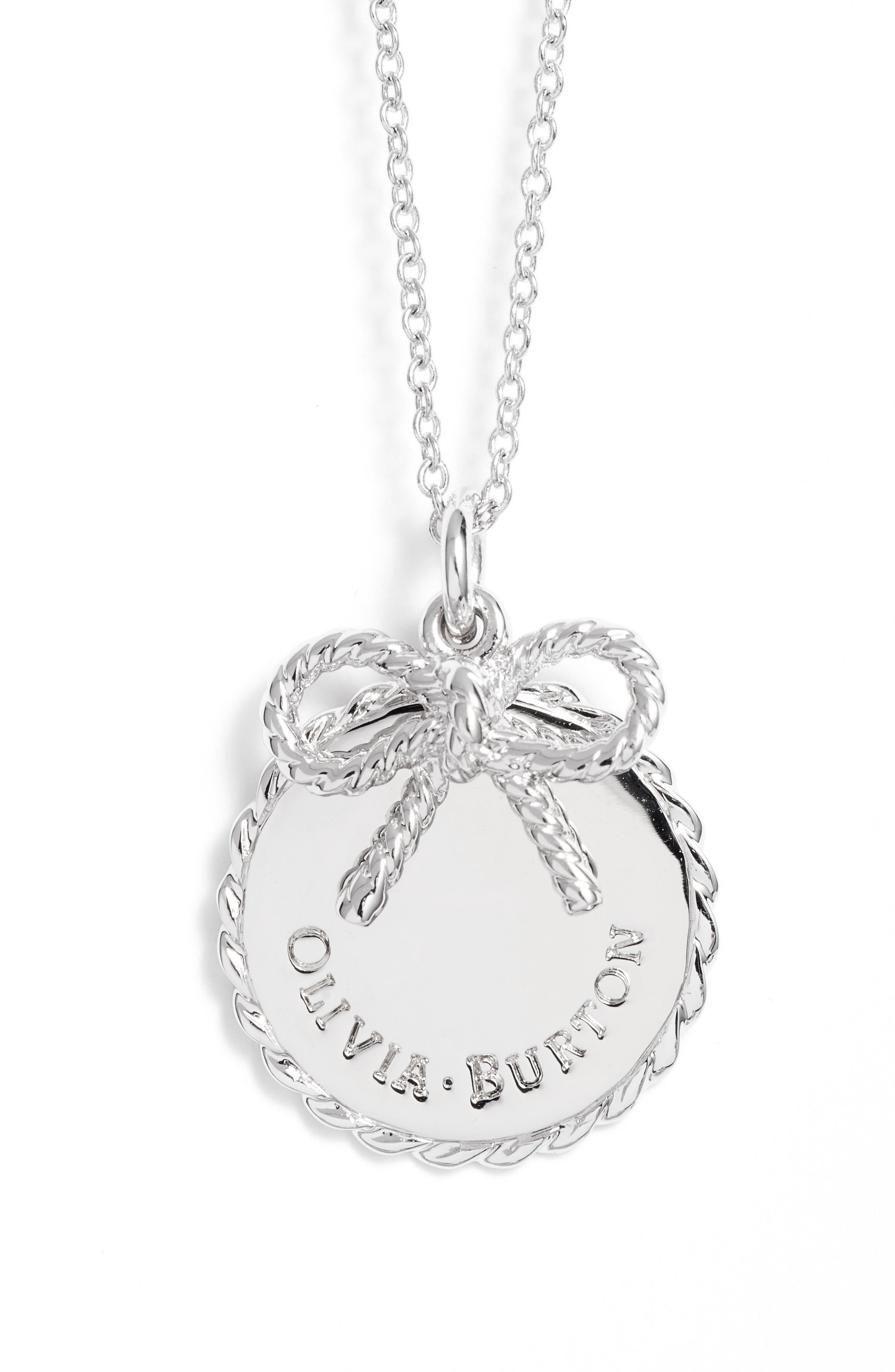Coin Bow Pendant Necklace,                             Main thumbnail 1, color,                             Silver