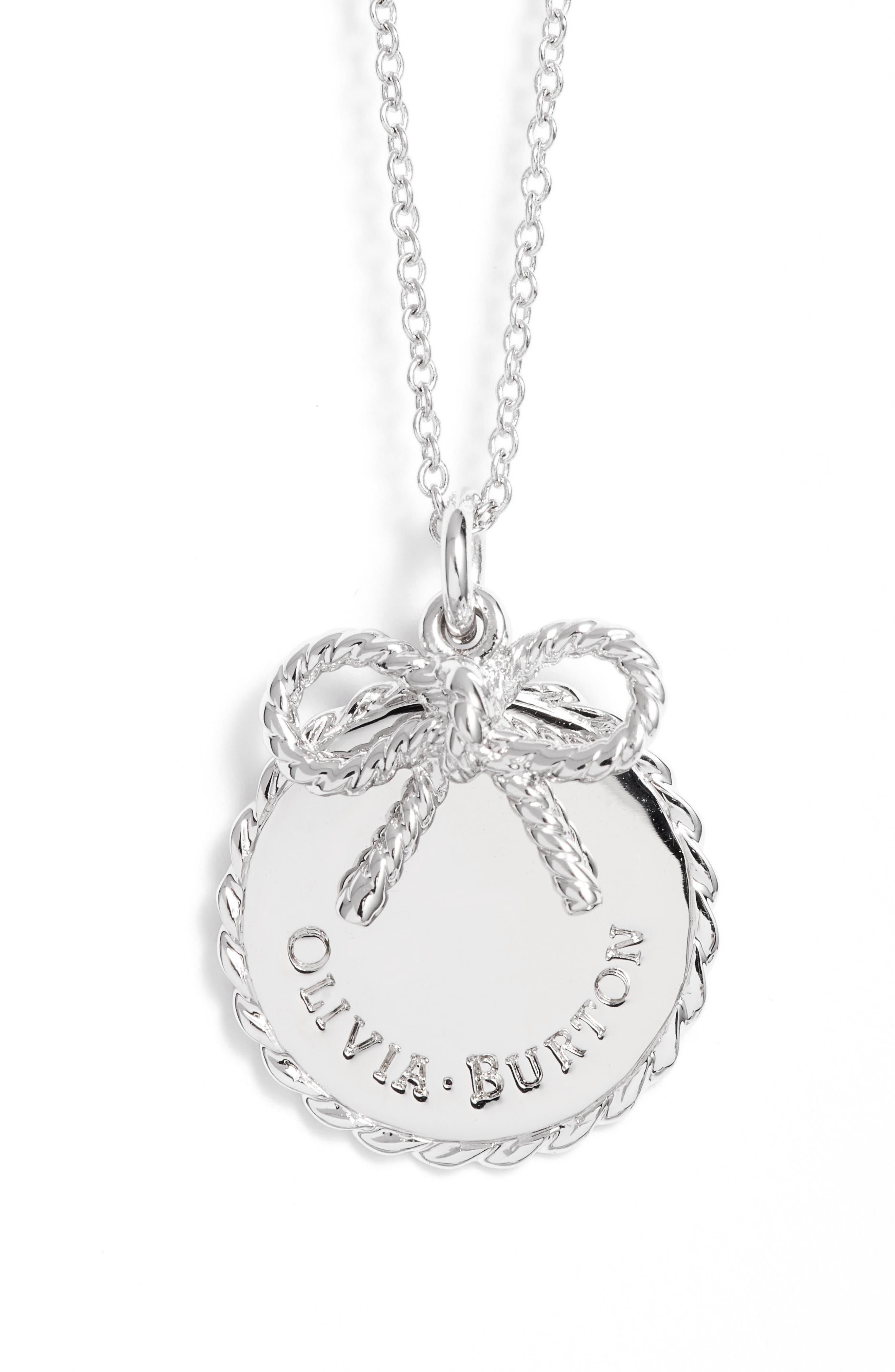 Coin Bow Pendant Necklace,                         Main,                         color, Silver