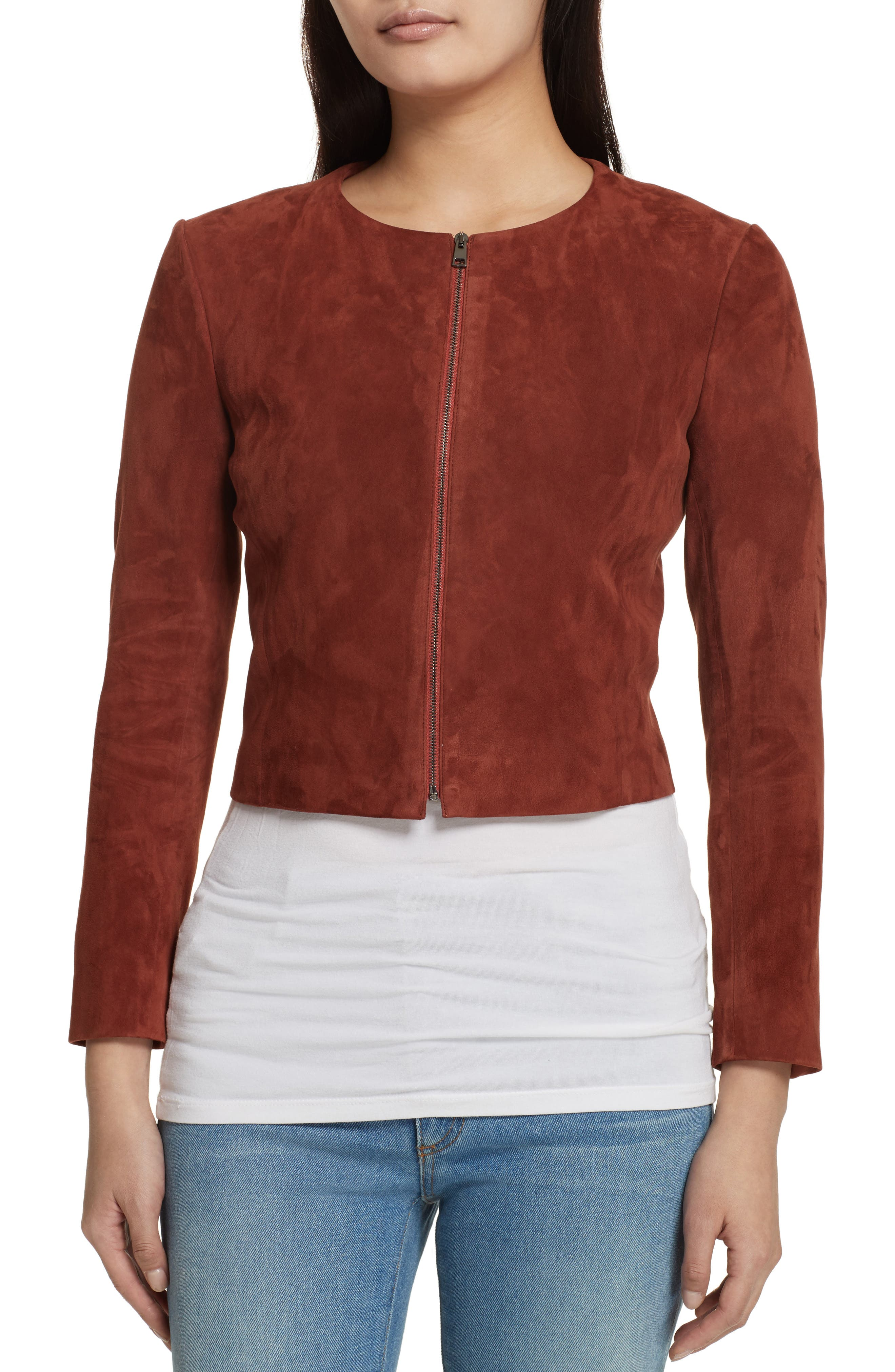 Morene Stretch Suede Jacket,                             Alternate thumbnail 4, color,                             Brown Russet