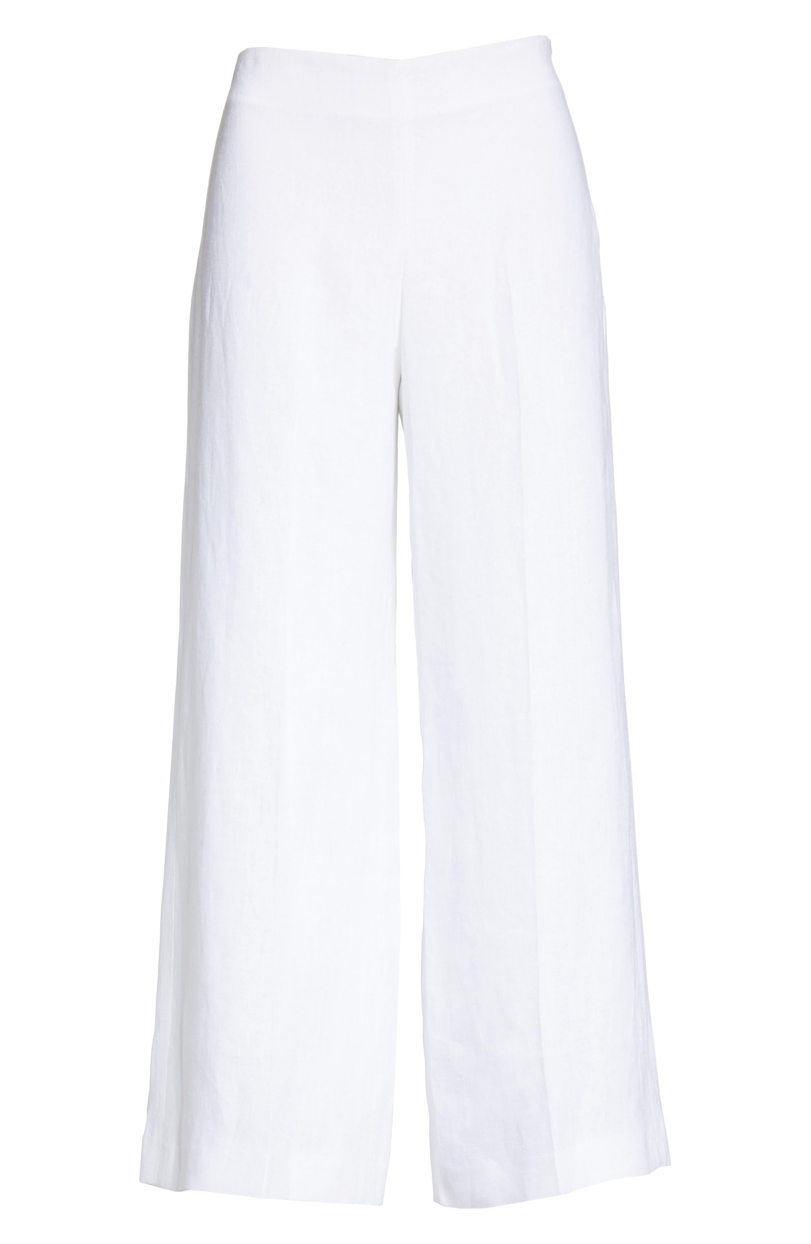 Terena B Linen Wide Leg Pants,                             Alternate thumbnail 6, color,                             White