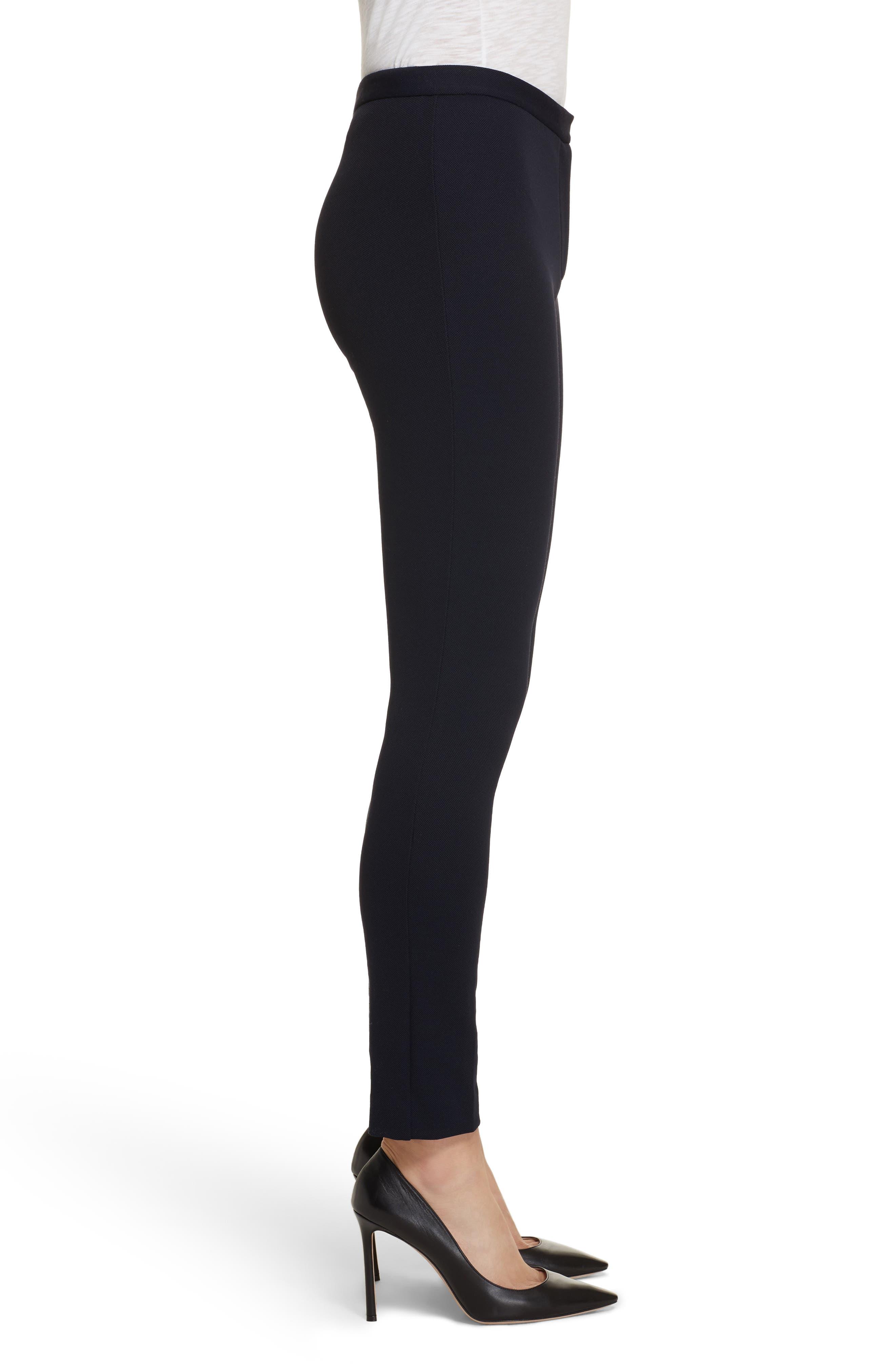 Piqué Skinny Pants,                             Alternate thumbnail 3, color,                             Black