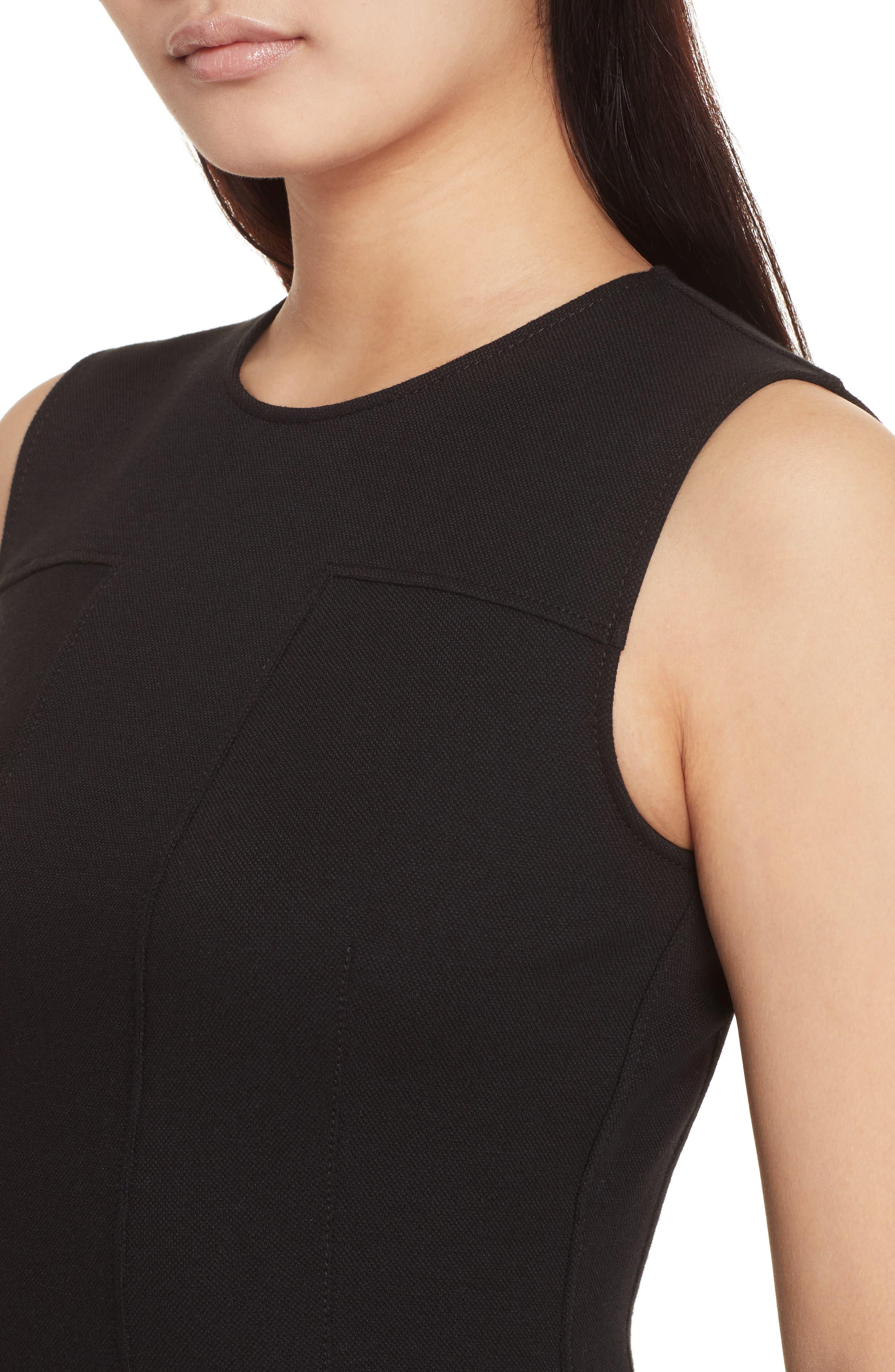 Piqué Fit & Flare Dress,                             Alternate thumbnail 4, color,                             Black