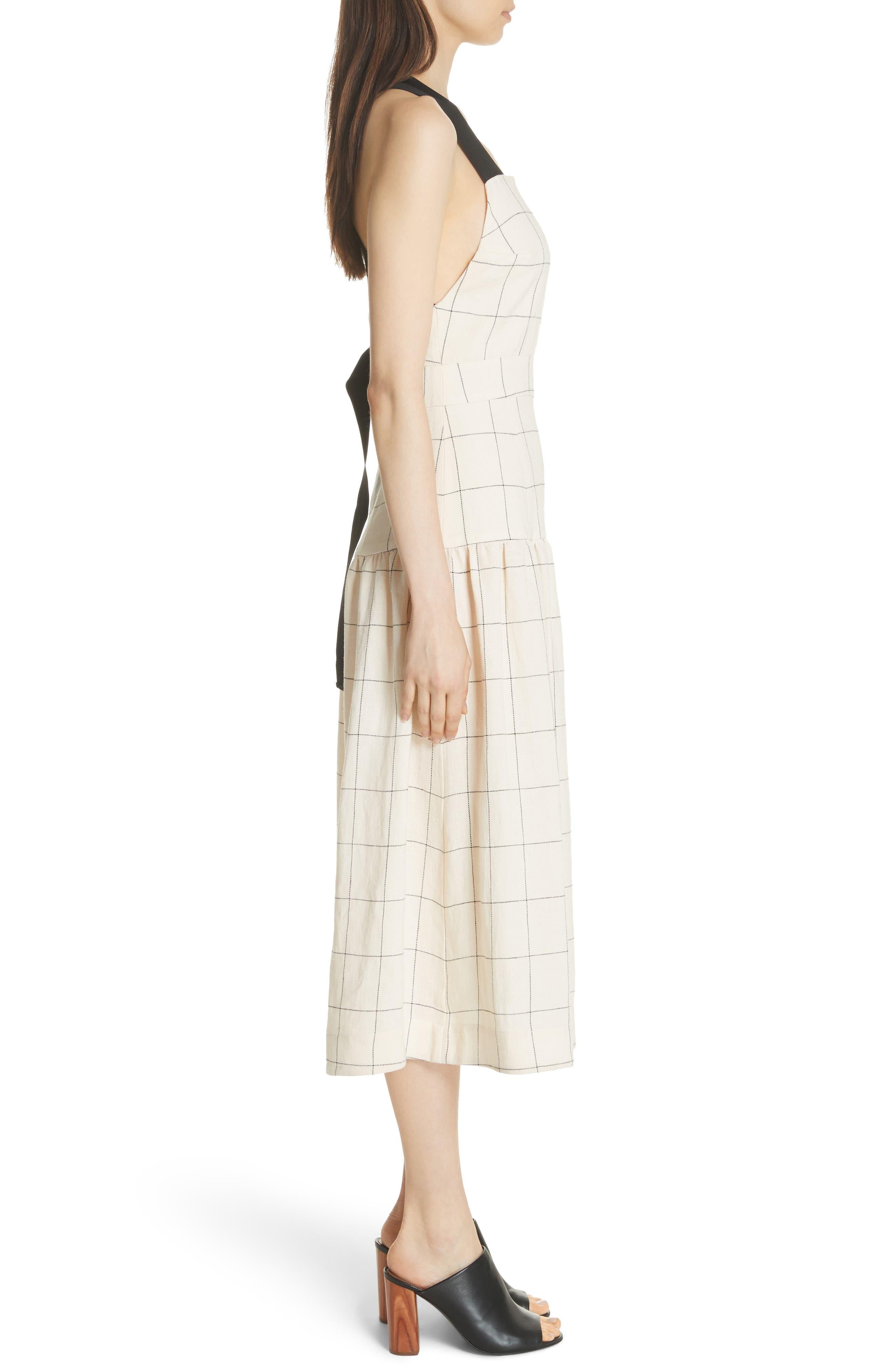 Jacques X-Factor Grid Linen Dress,                             Alternate thumbnail 3, color,                             Cream Grid