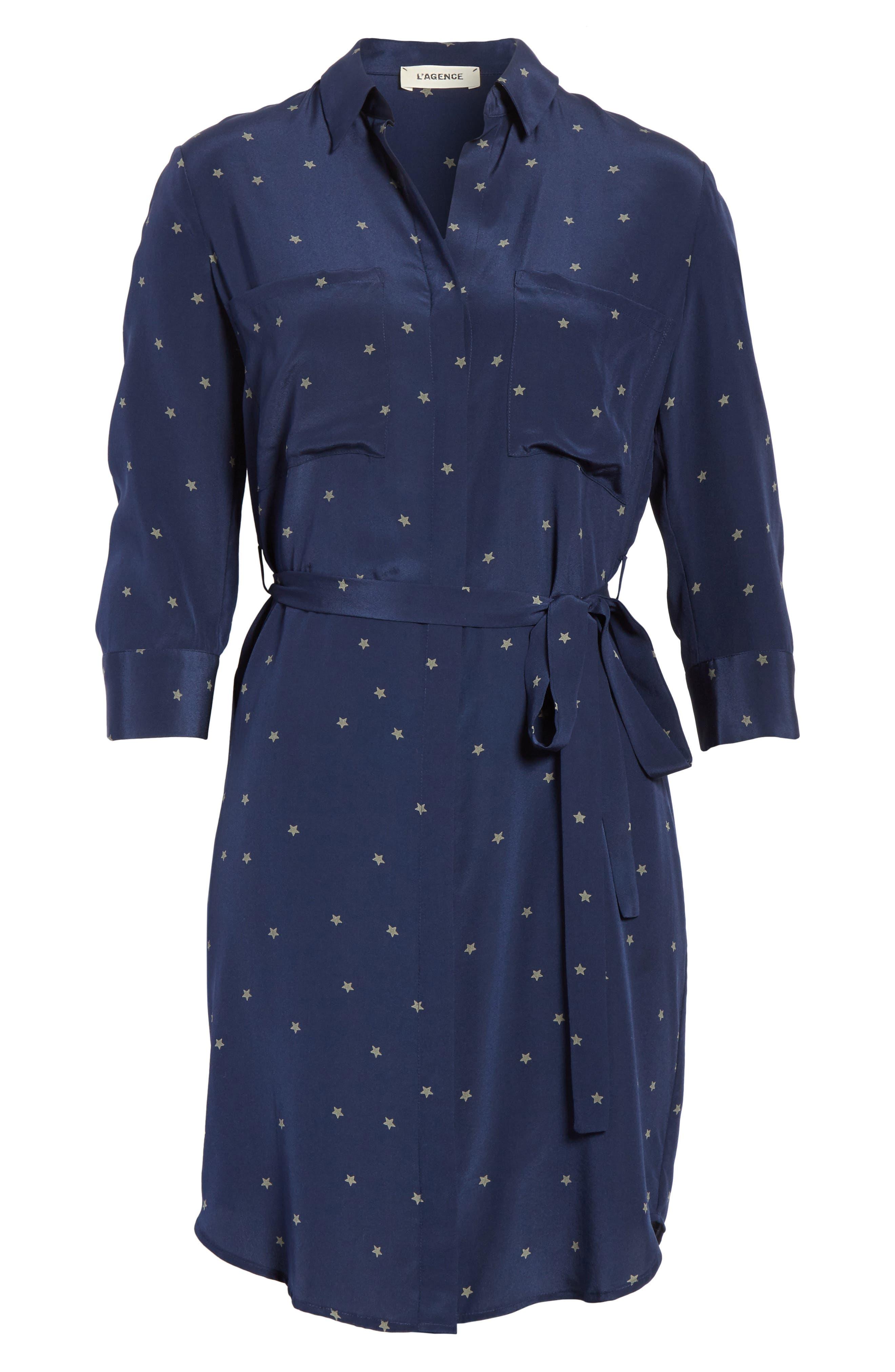 Stella Star Print Silk Shirtdress,                             Alternate thumbnail 6, color,                             Navy/ Beetle Combo