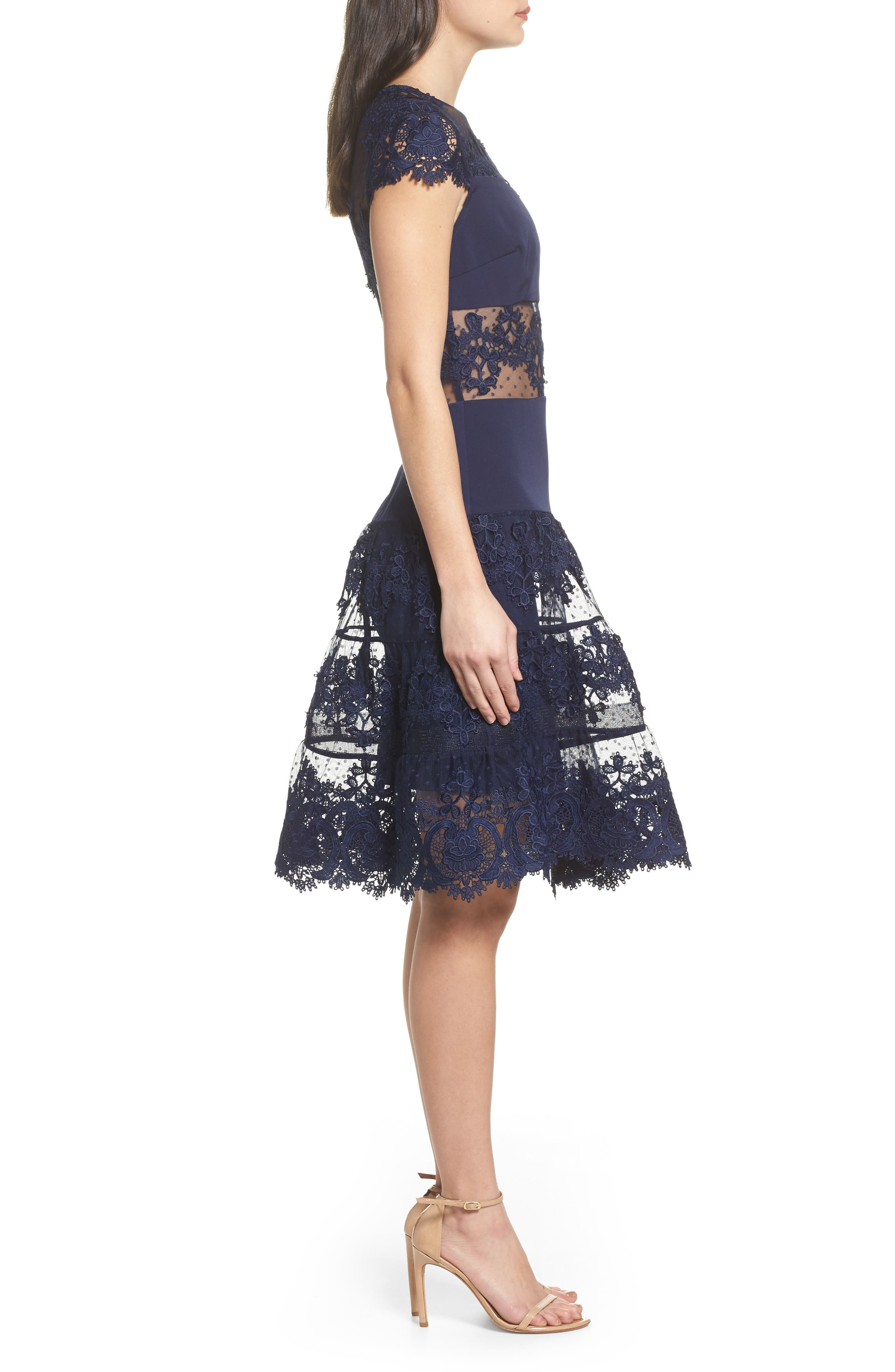 Flamenco Lace Inset Fit & Flare Dress,                             Alternate thumbnail 4, color,                             Navy