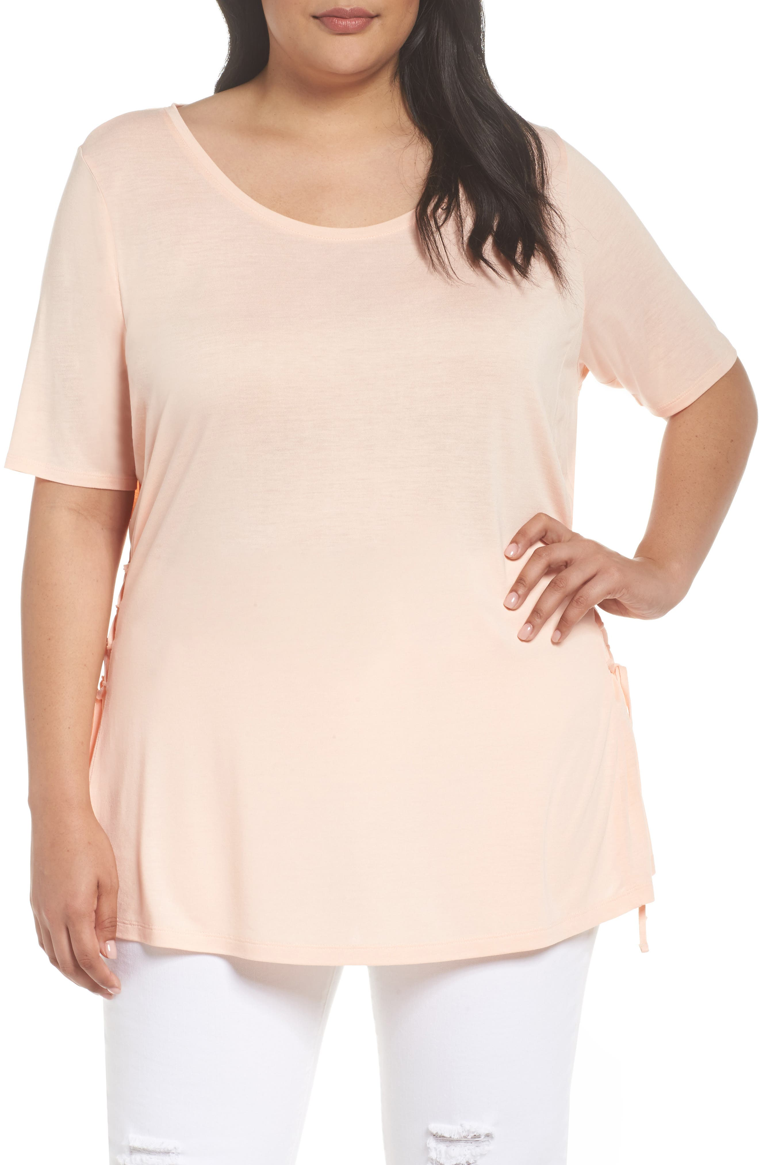 Alternate Image 1 Selected - Sejour Side Lace Up Top (Plus Size)