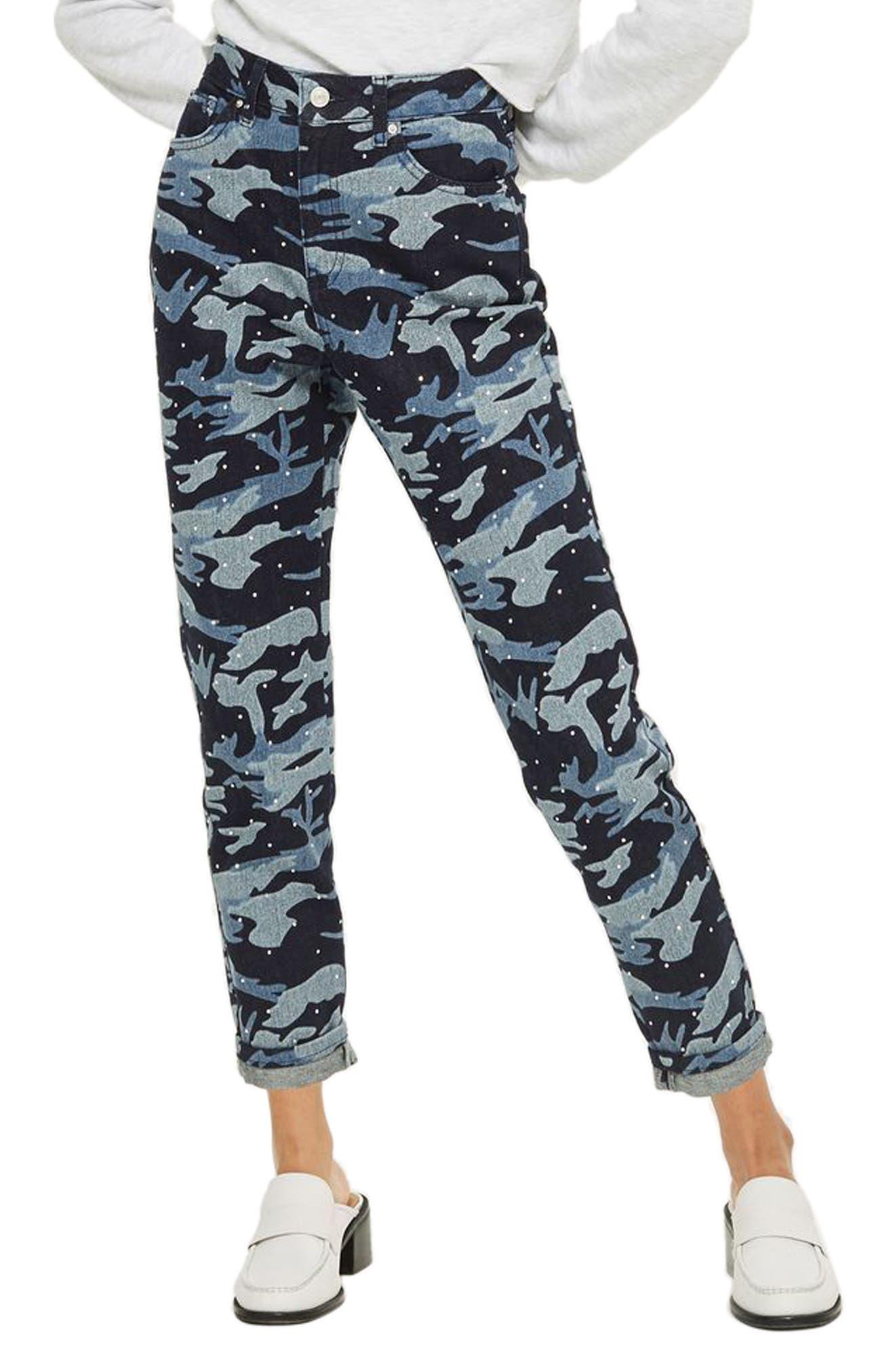 Camo Diamante Mom Jeans,                             Main thumbnail 1, color,                             Indigo Multi