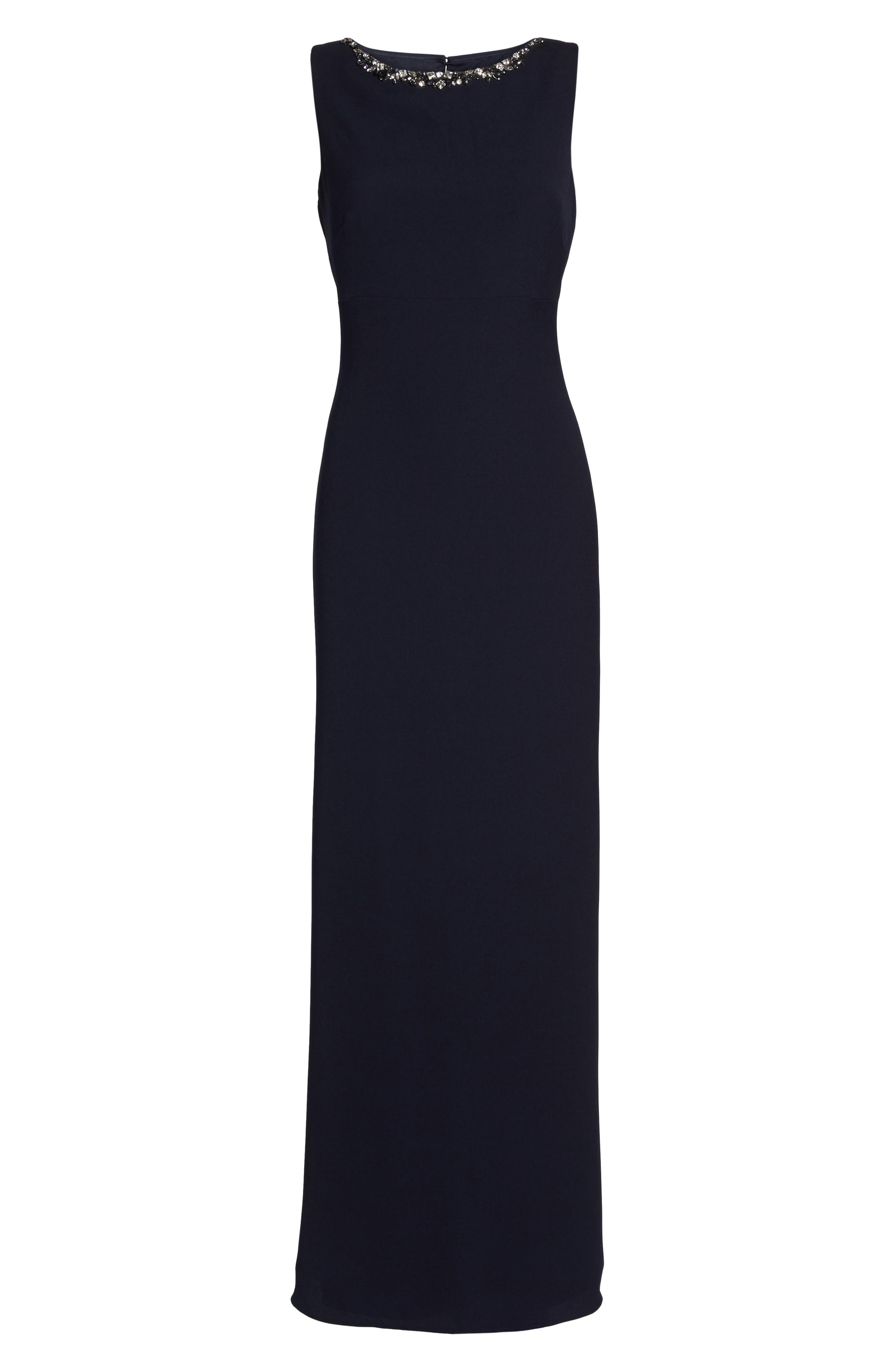 Embellished Ruffle Back Crepe Gown,                             Alternate thumbnail 6, color,                             Navy