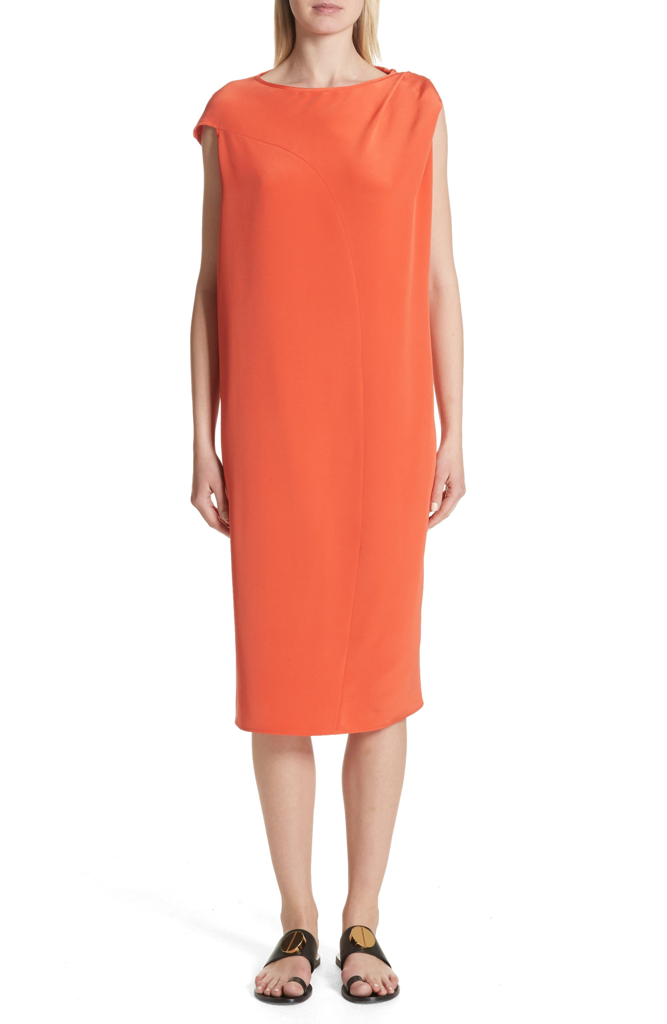Twist Detail Silk Dress,                             Main thumbnail 1, color,                             Persimmon Orange