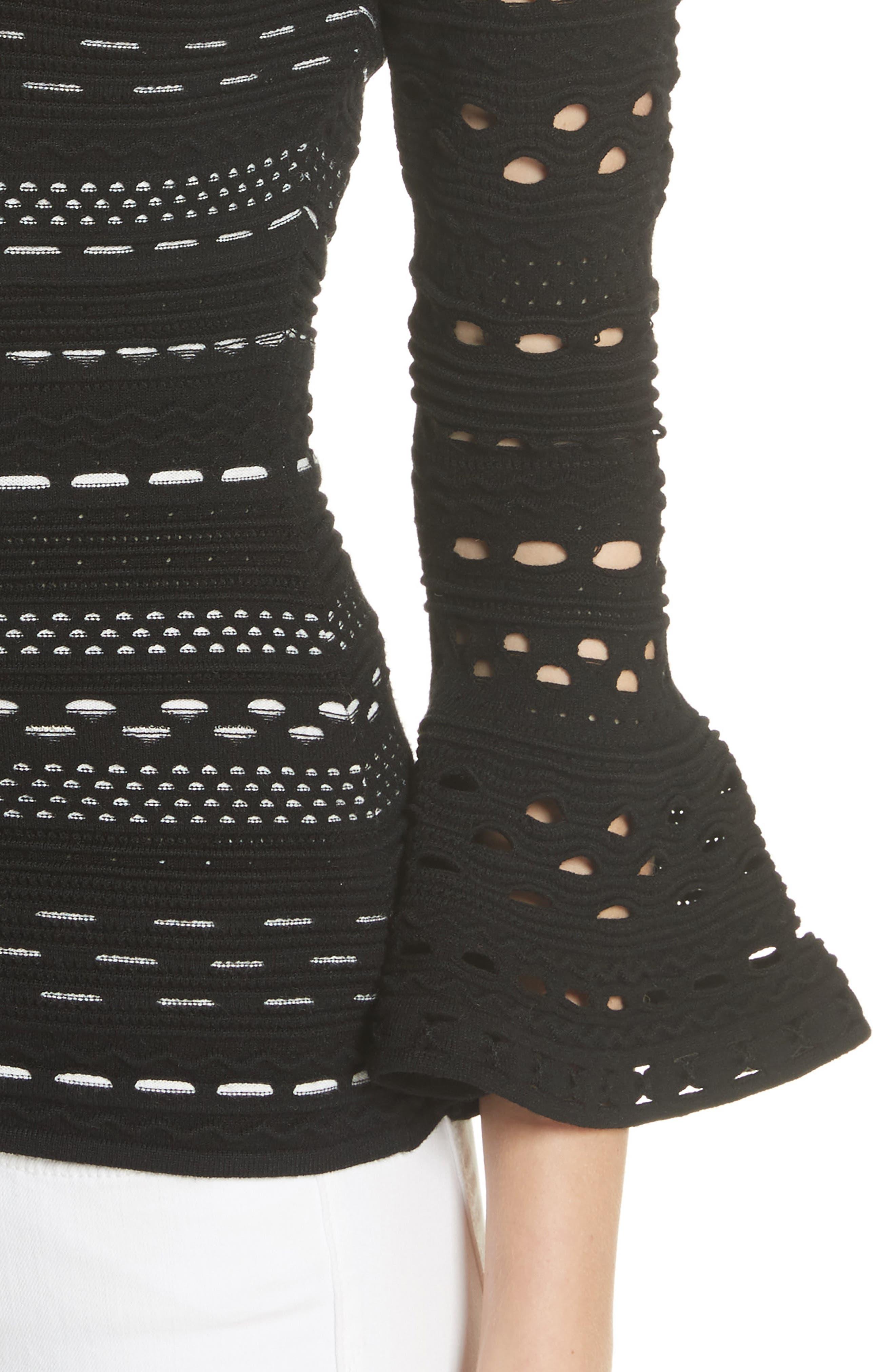 Lace Knit Top,                             Alternate thumbnail 4, color,                             Black/ White