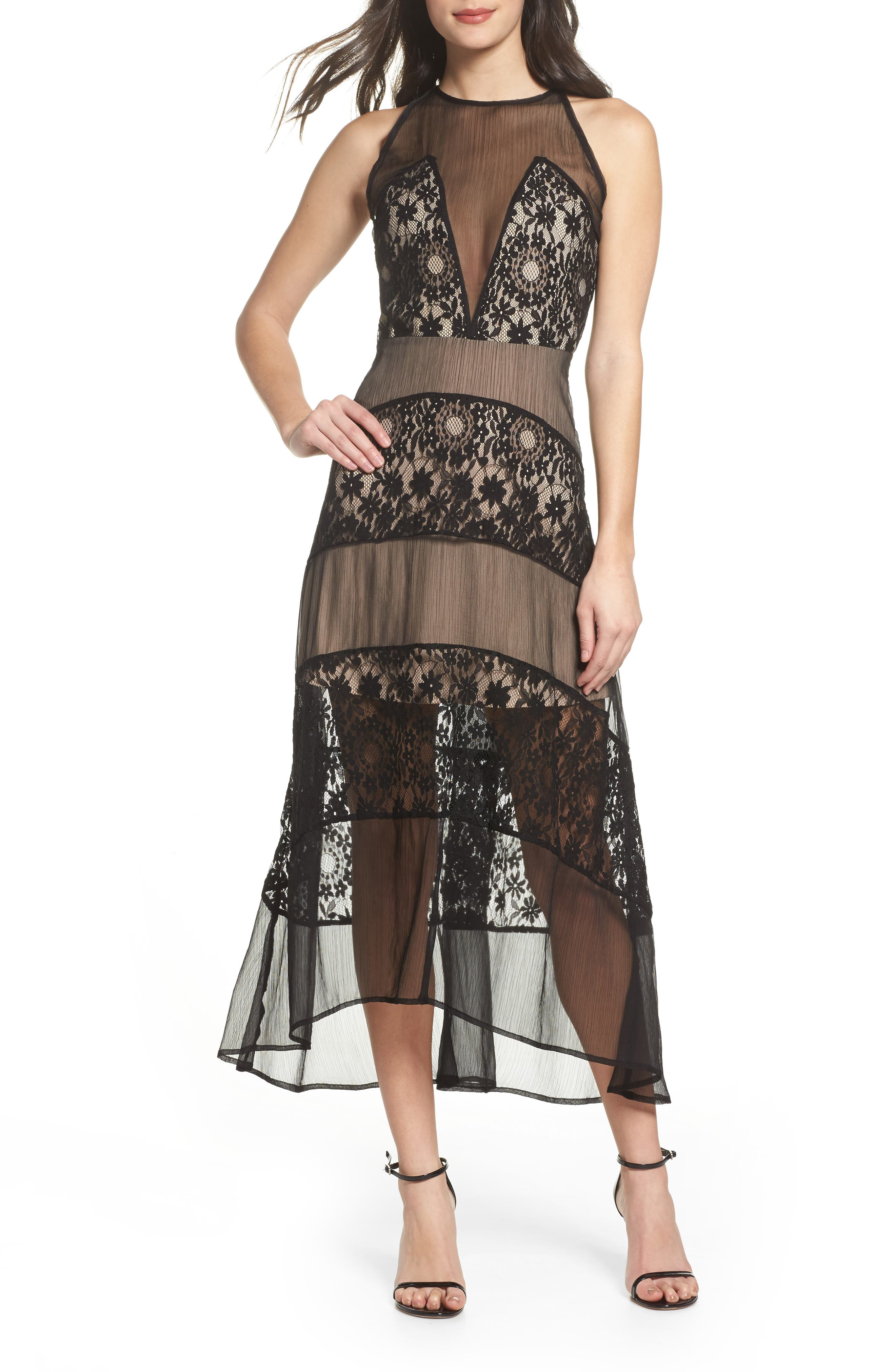 Tristan Lace & Chiffon Maxi Dress,                         Main,                         color, Black