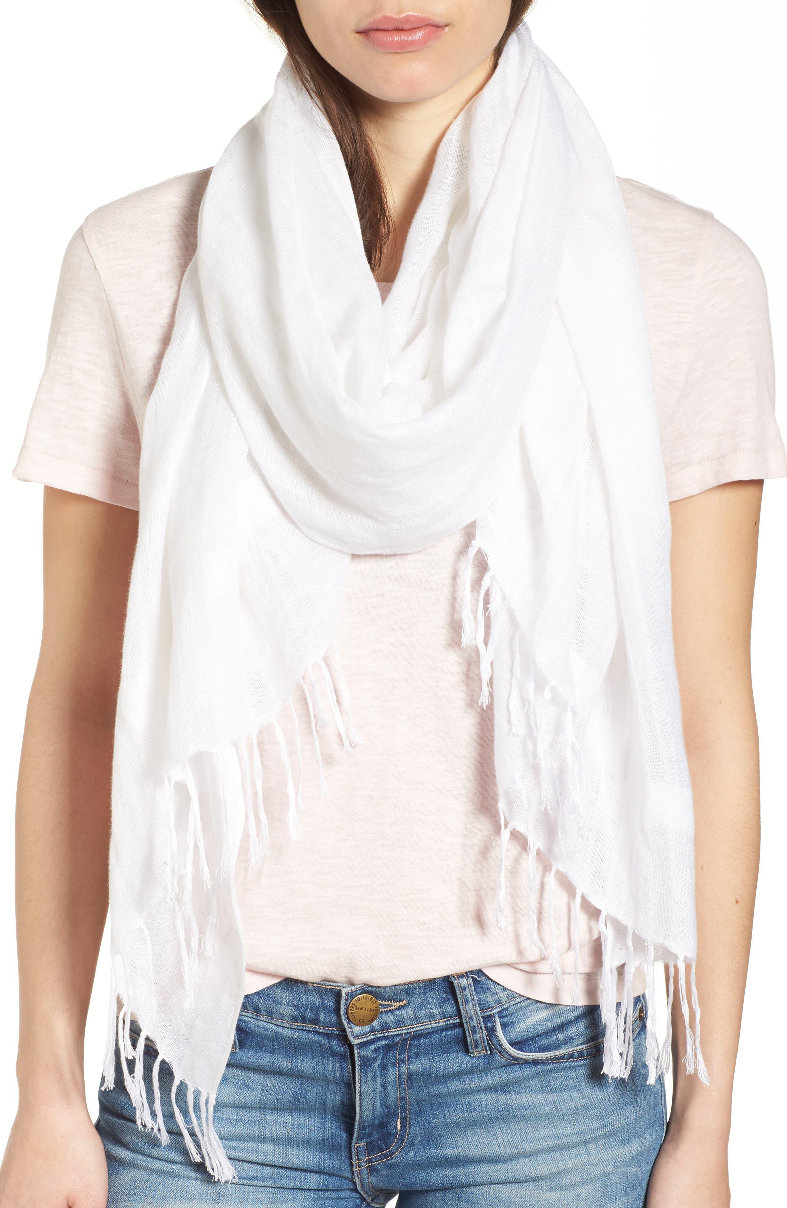 Linen Blend Scarf,                         Main,                         color, White