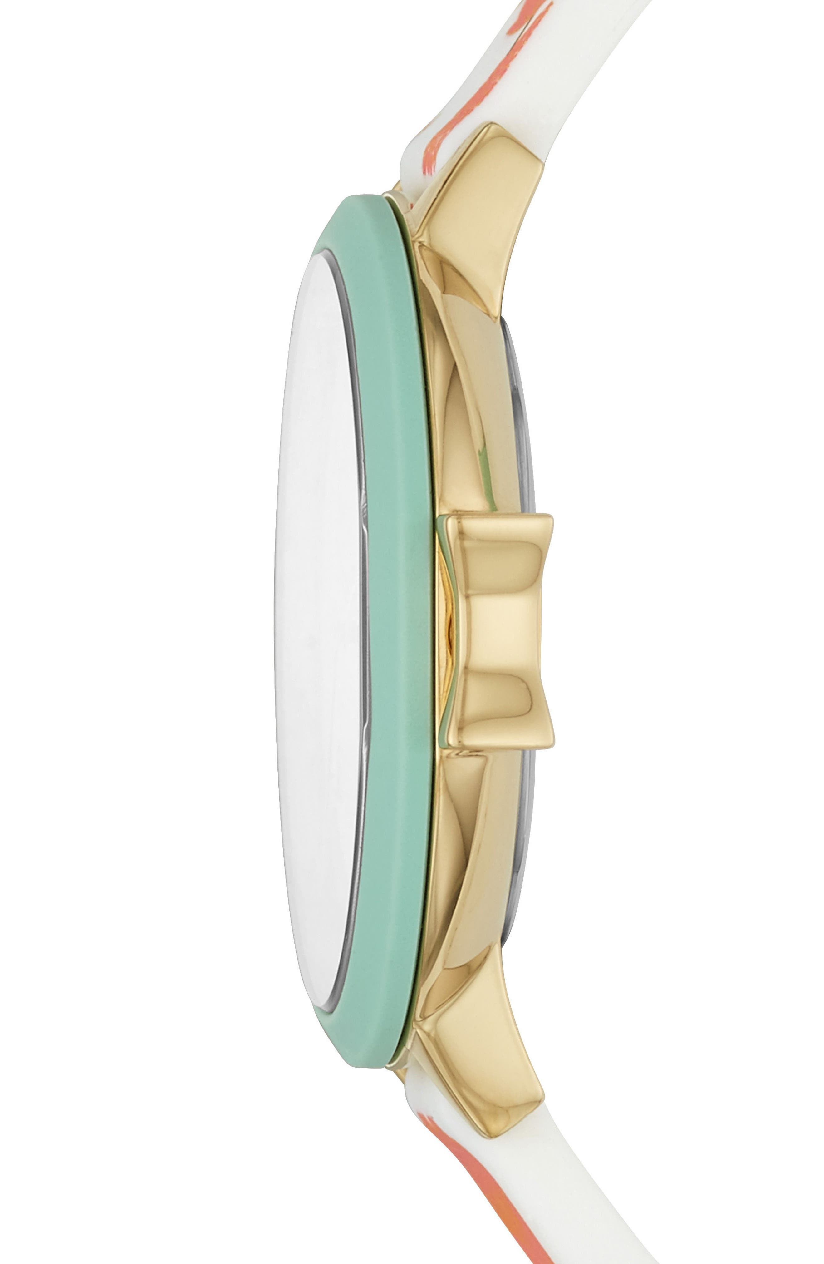 park row silicone strap watch, 34mm,                             Alternate thumbnail 2, color,                             Blue/ White/ Gold