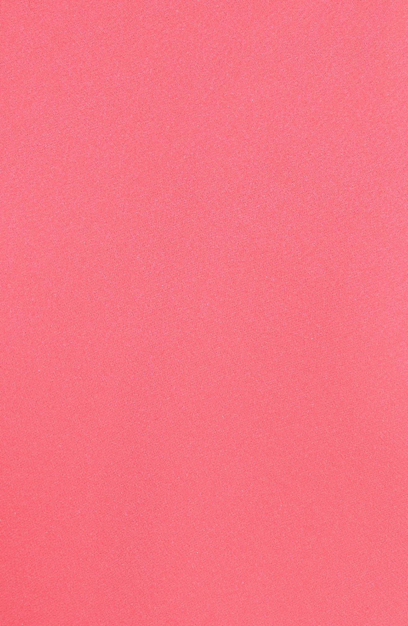 Petal Stretch Silk Midi Dress,                             Alternate thumbnail 5, color,                             Guava