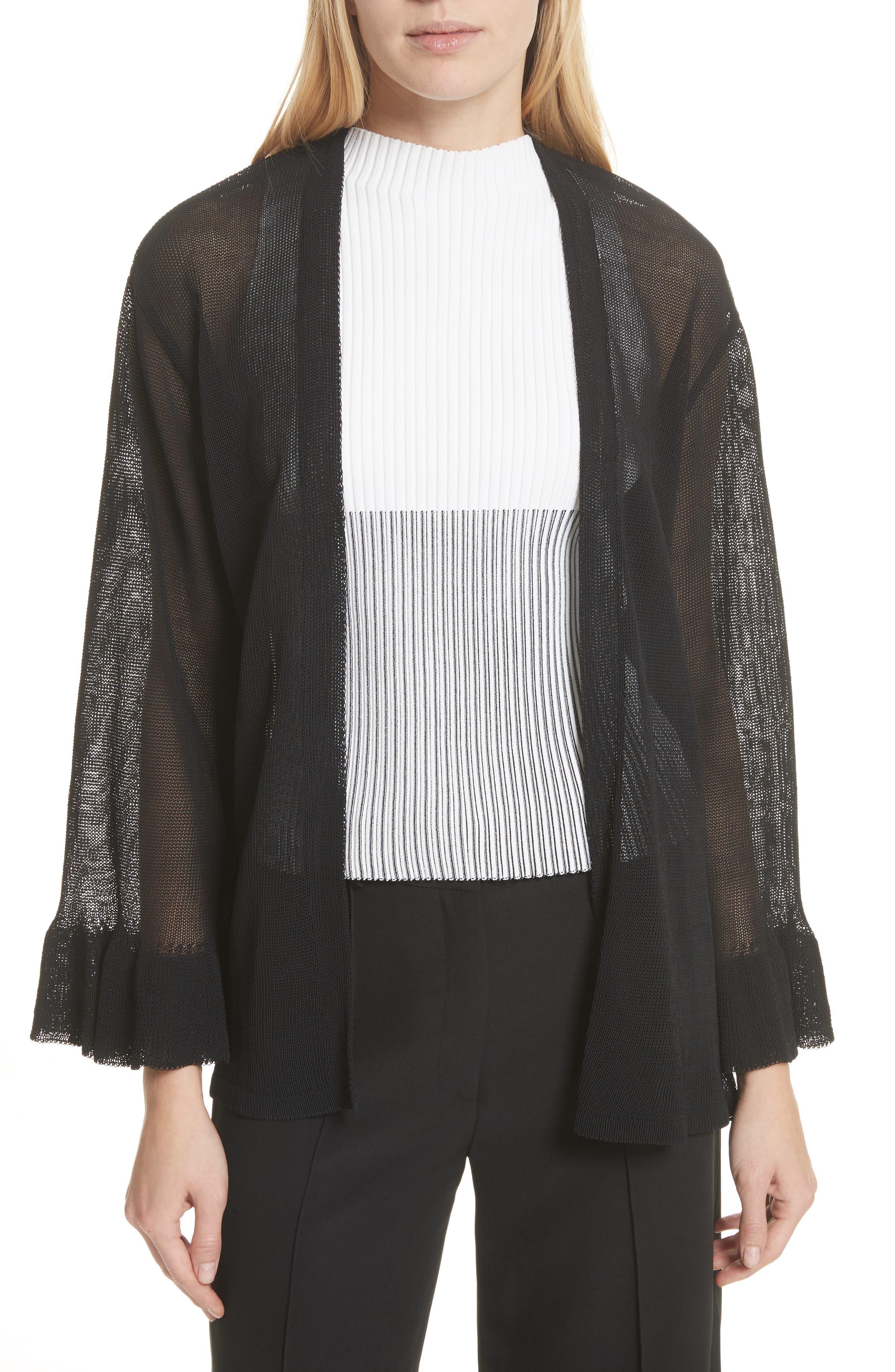 Ruffle Sleeve Italian Mesh Cardigan,                         Main,                         color, Black