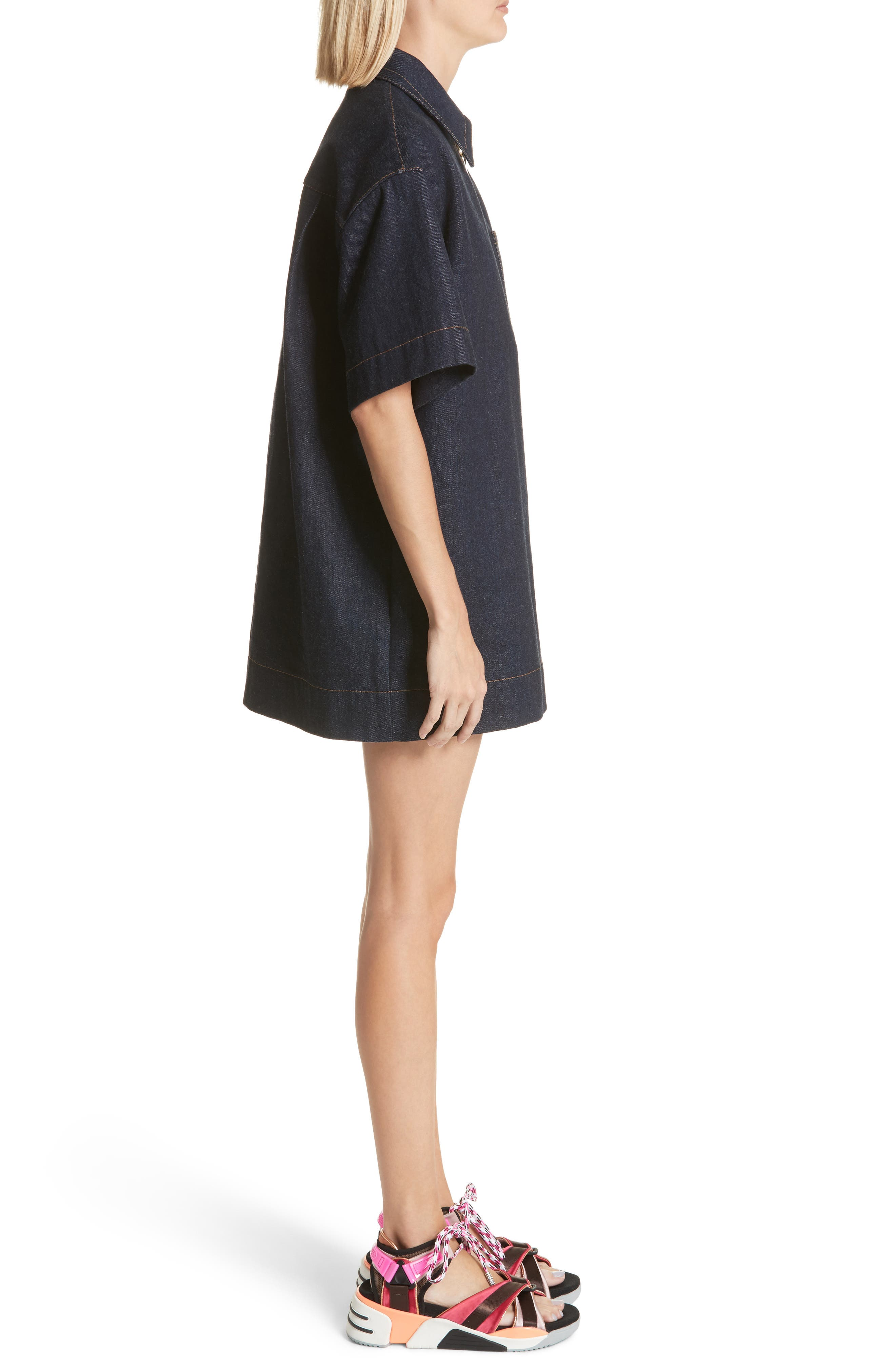 Denim Tunic Dress,                             Alternate thumbnail 3, color,                             Indigo