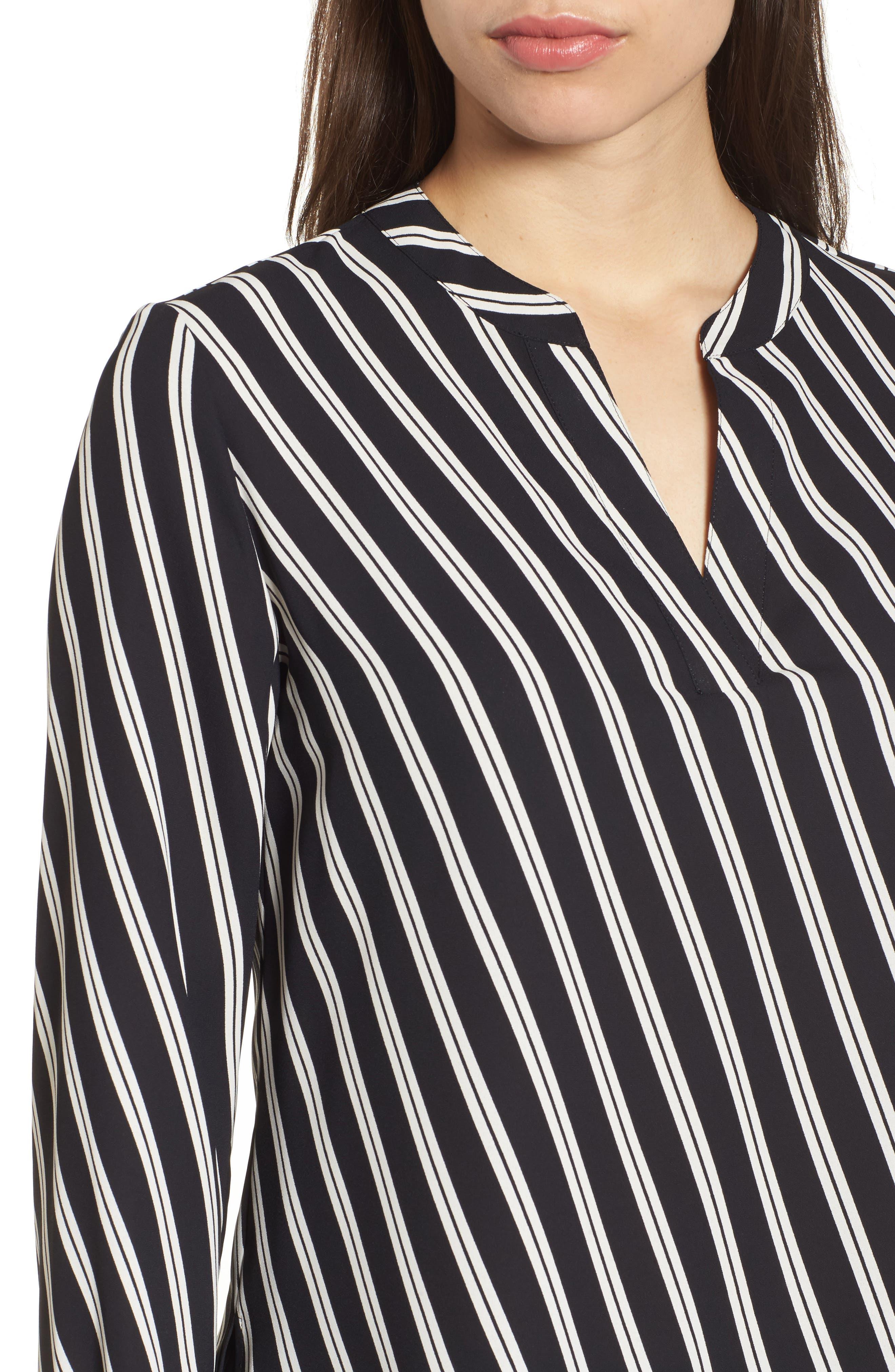 Stripe V-Neck Blouse,                             Alternate thumbnail 4, color,                             Black/ Parchment