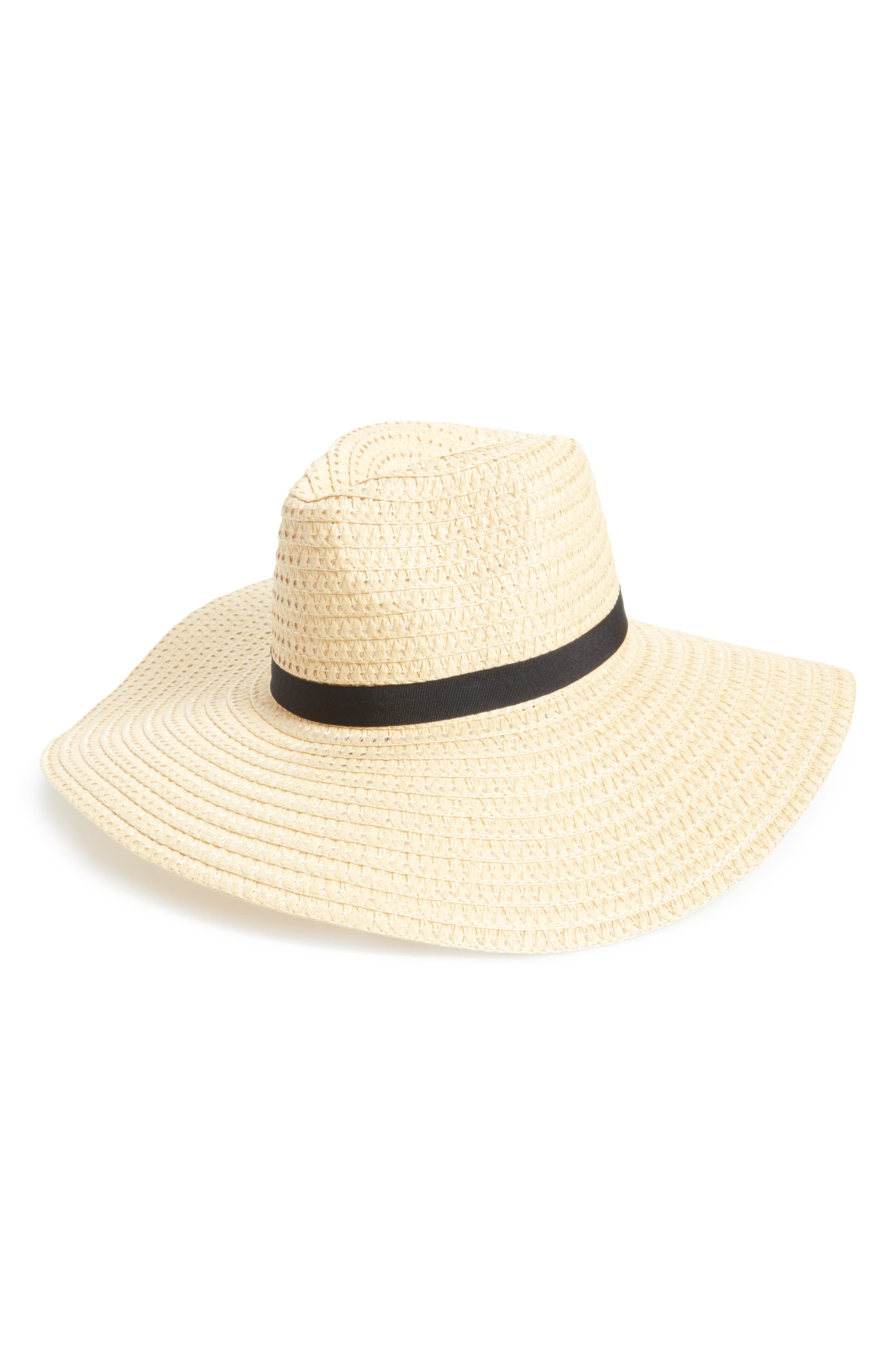 Wide Brim Staw Hat,                         Main,                         color, Natural/ Black