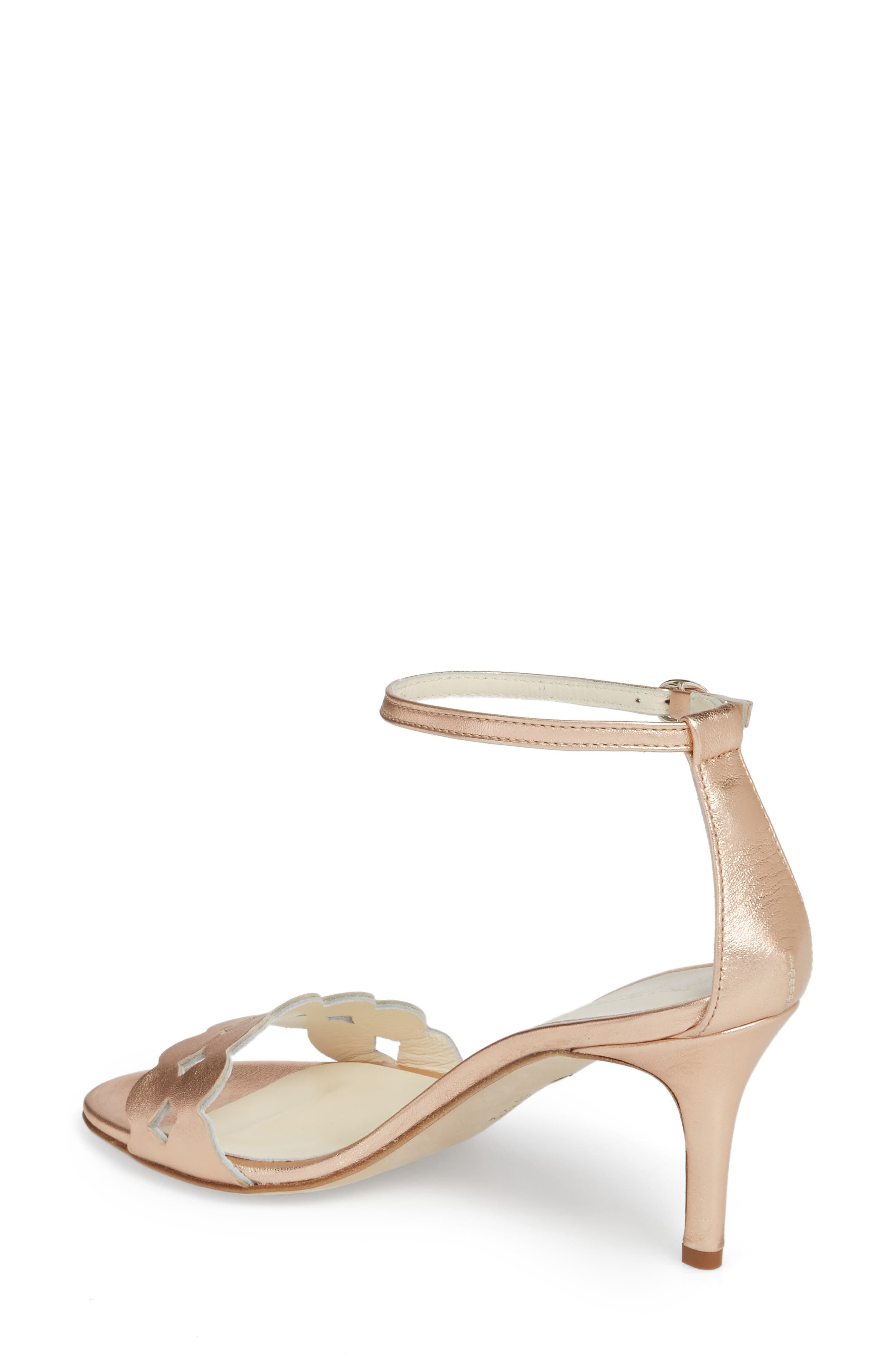 Gina Ankle Strap Sandal,                             Alternate thumbnail 2, color,                             Rose Gold Metallics