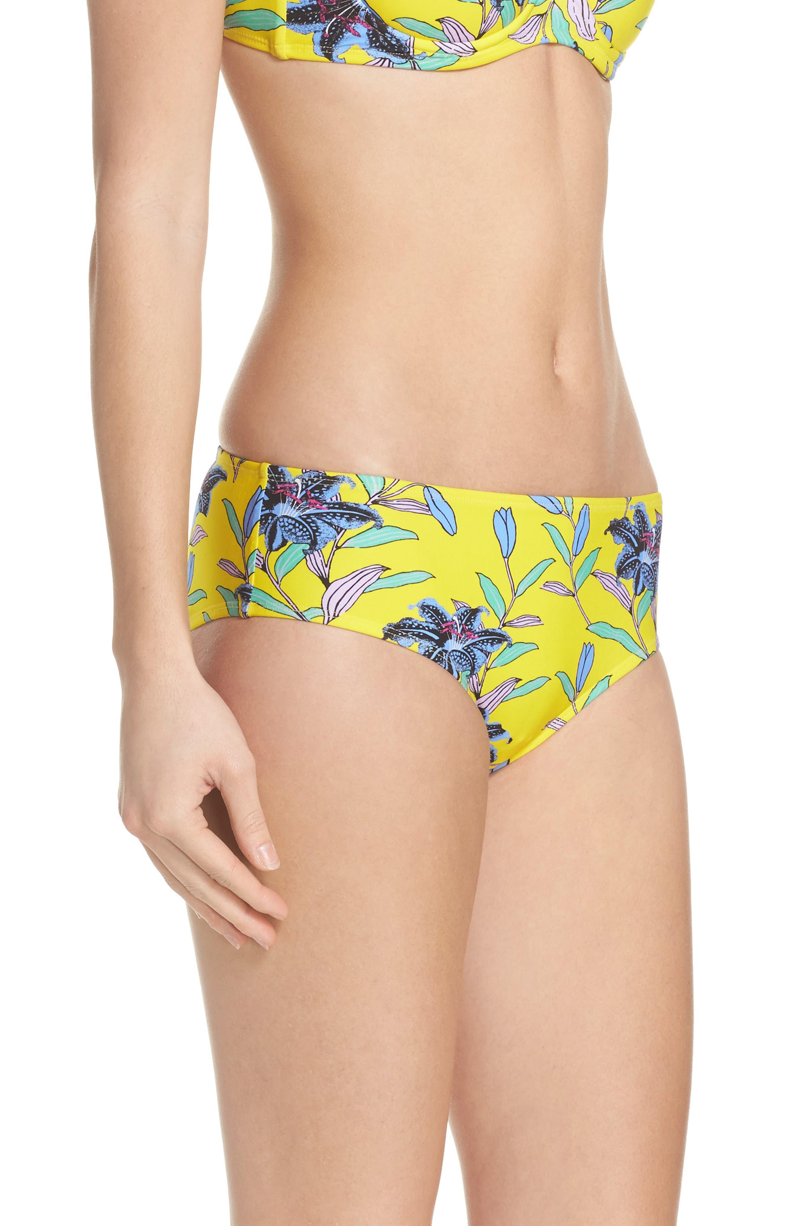 Mid Rise Cheeky Bikini Bottoms,                             Alternate thumbnail 3, color,                             Argos Small Allover Pineapple