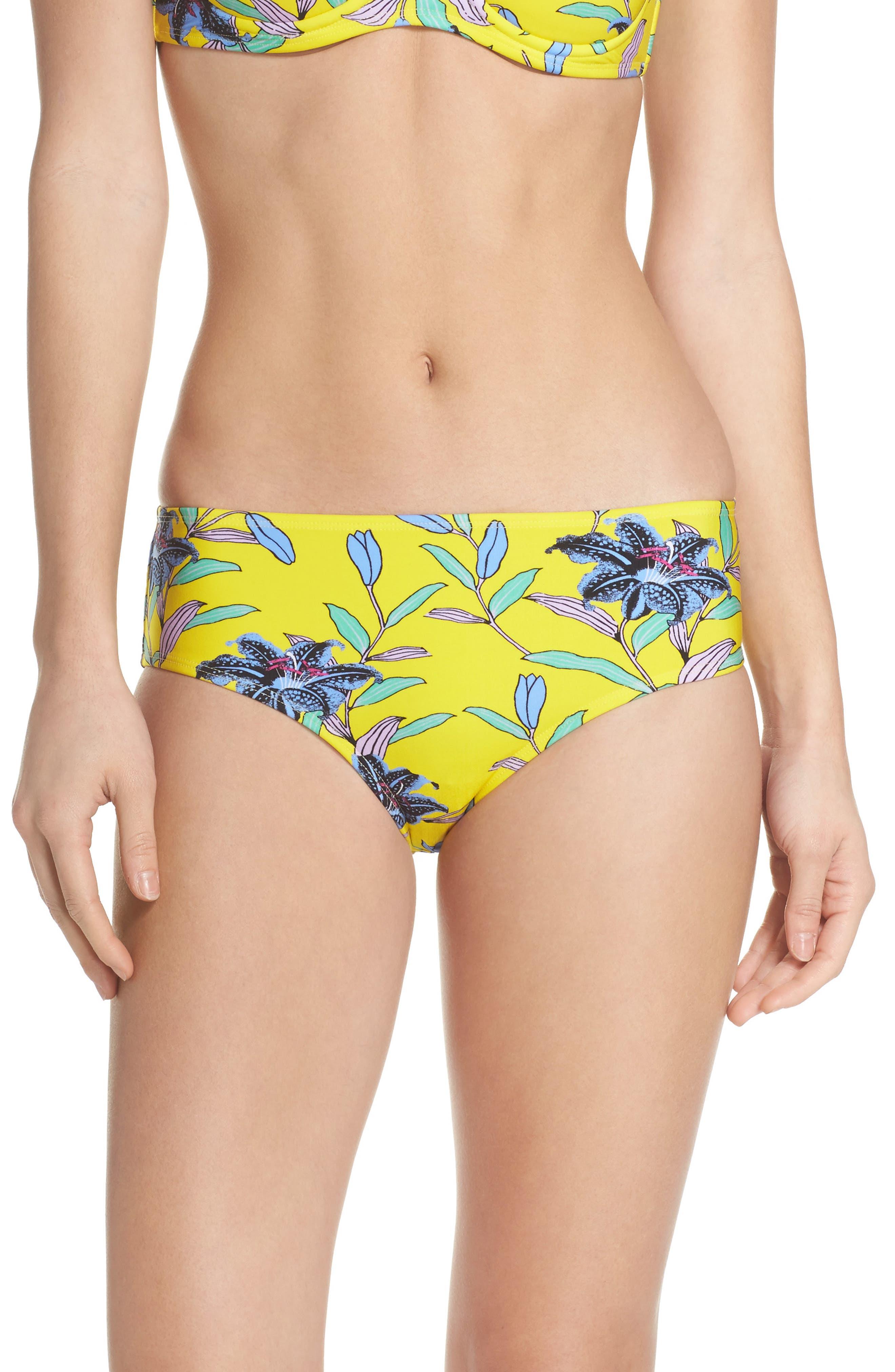Mid Rise Cheeky Bikini Bottoms,                             Main thumbnail 1, color,                             Argos Small Allover Pineapple
