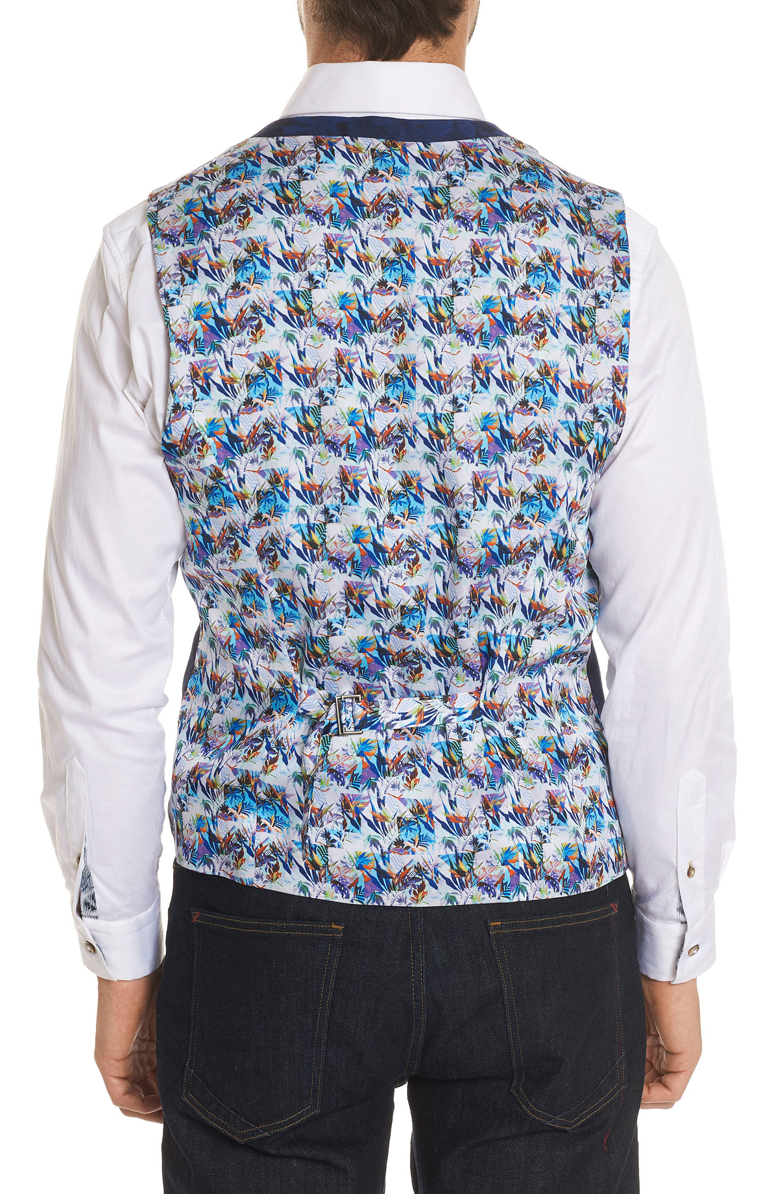 Nunez Regular Fit Linen & Cotton Vest,                             Alternate thumbnail 2, color,                             Blue