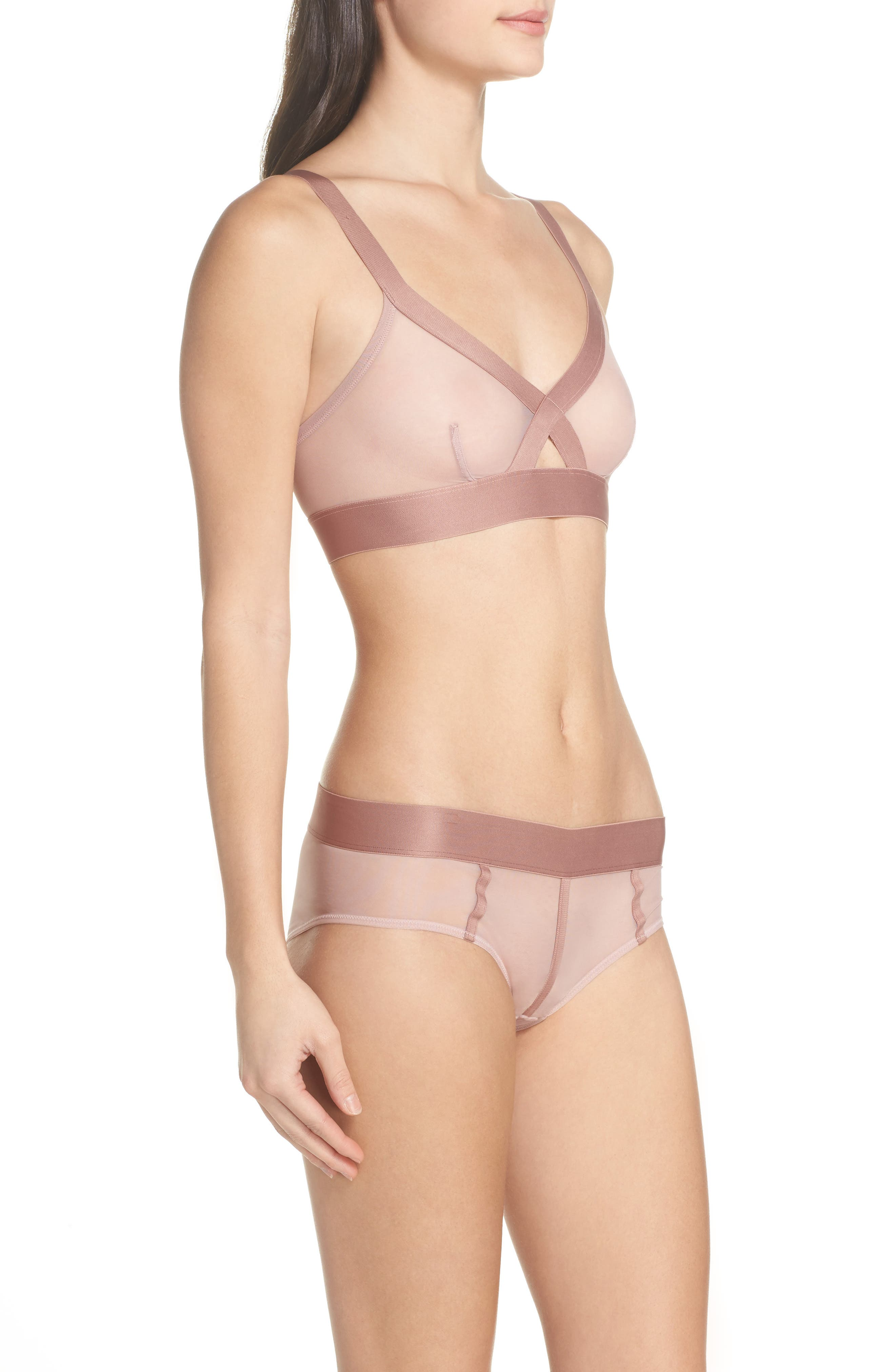 Sheers Wireless Bralette,                             Alternate thumbnail 8, color,                             Shell/Rouge