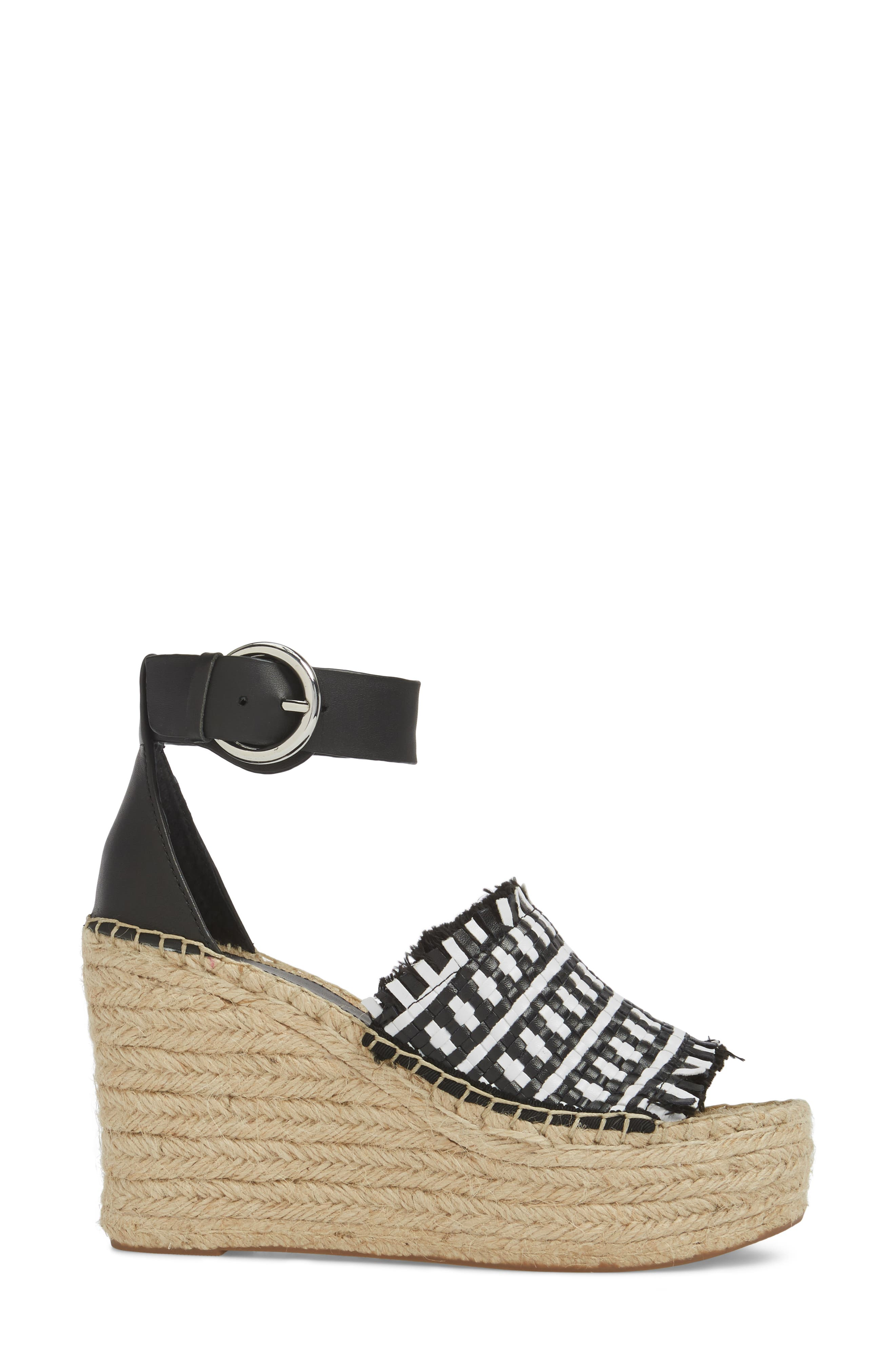 Andrew Espadrille Wedge Sandal,                             Alternate thumbnail 3, color,                             White/ Black Leather