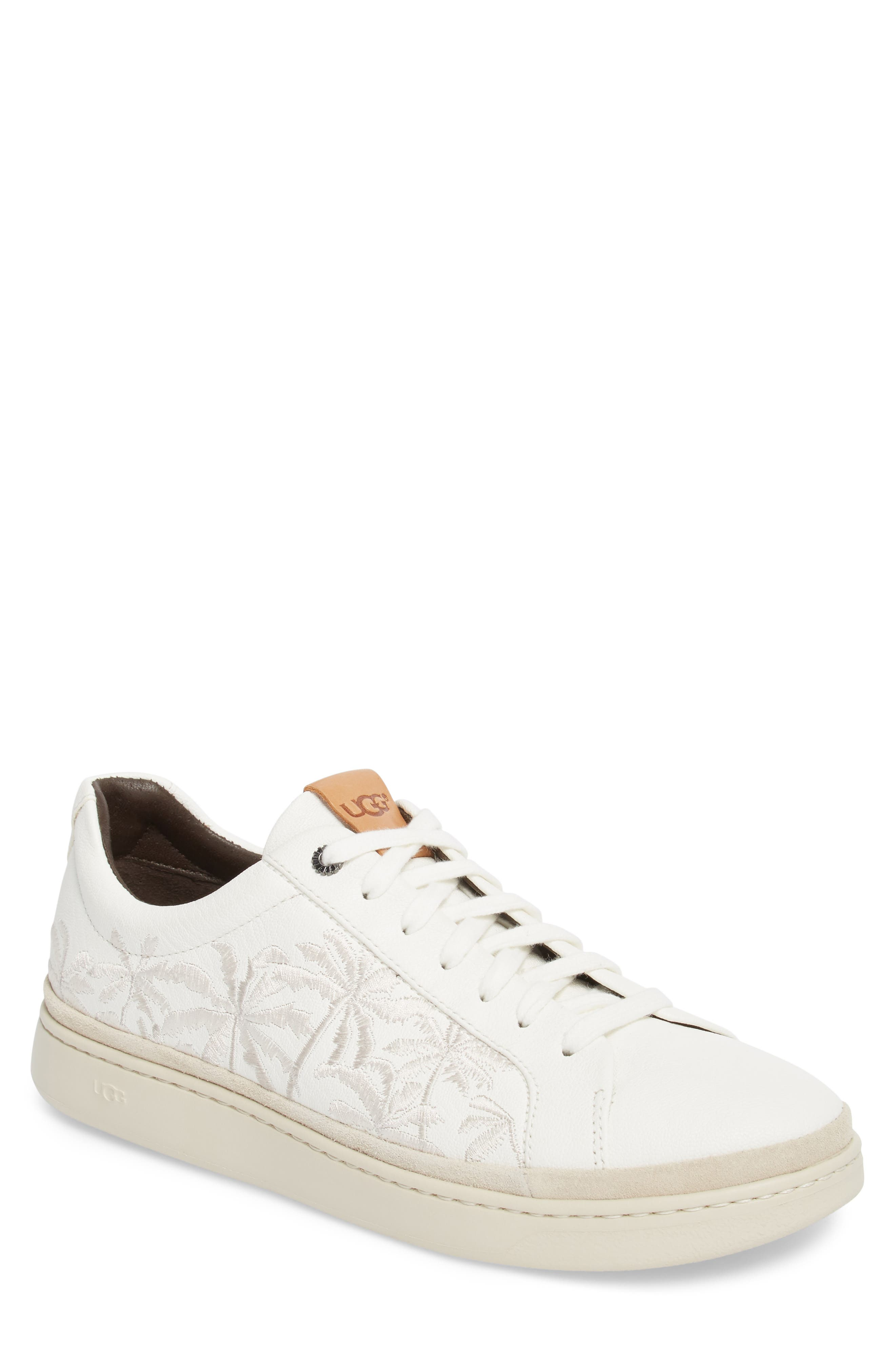 Palm Embroidered Sneaker,                         Main,                         color, White Leather