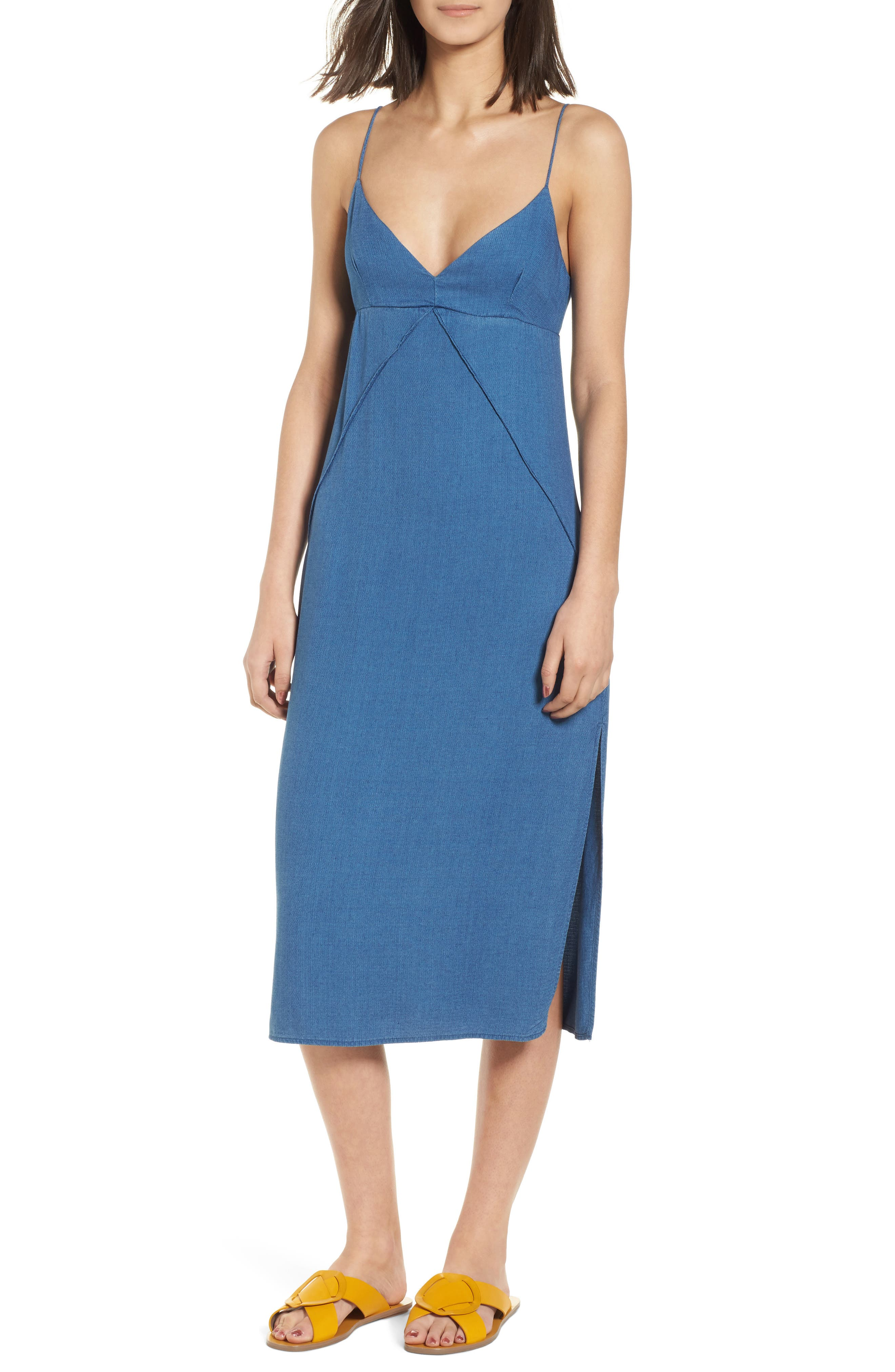 Chambray Camisole Dress,                             Main thumbnail 1, color,                             Med Wash