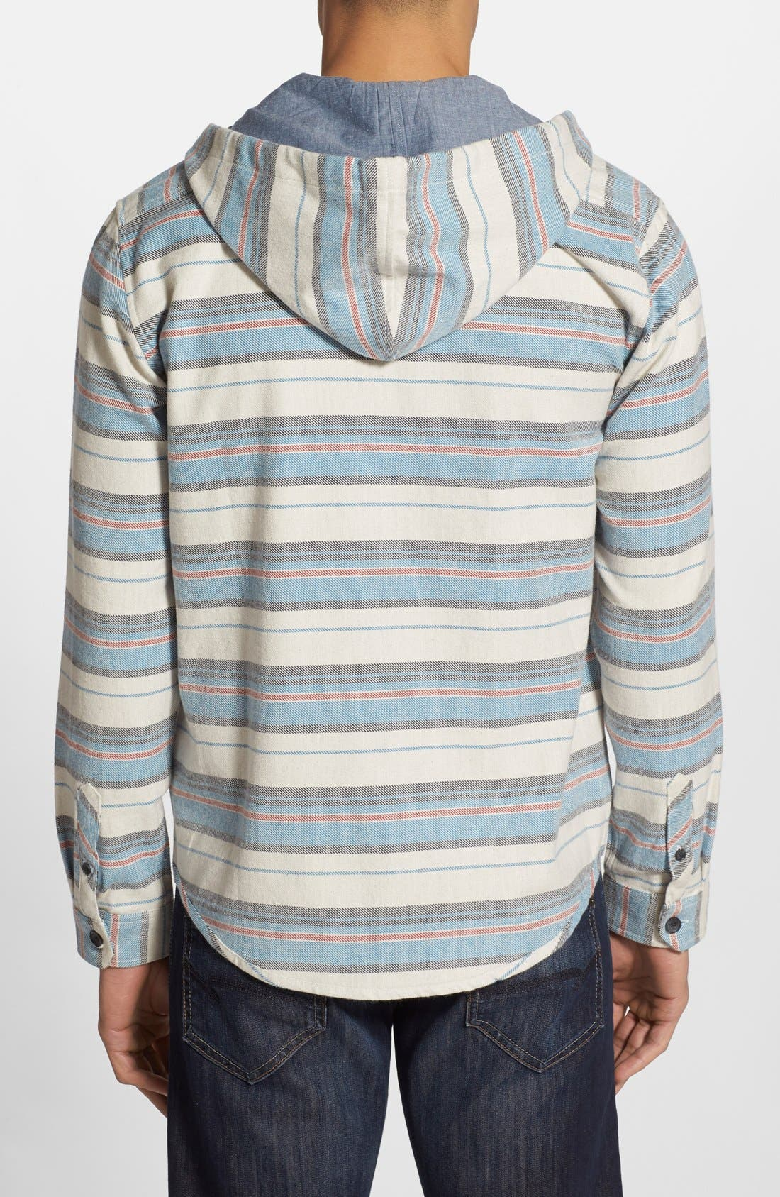'Flatlands' Stripe Hooded Flannel Shirt,                             Alternate thumbnail 2, color,                             Stone Heather