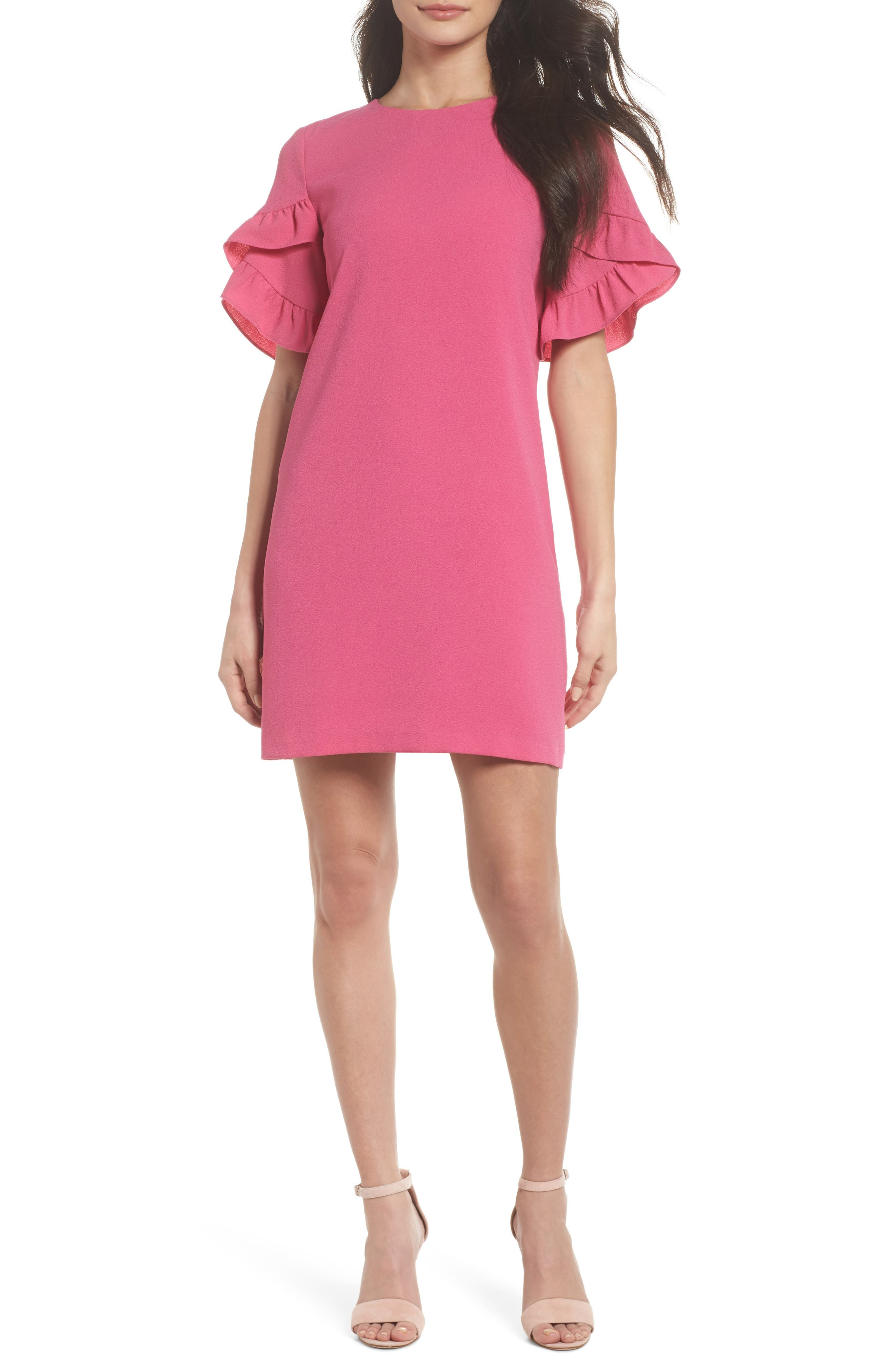 Ruffle Sleeve Shift Dress,                         Main,                         color, Fuschia