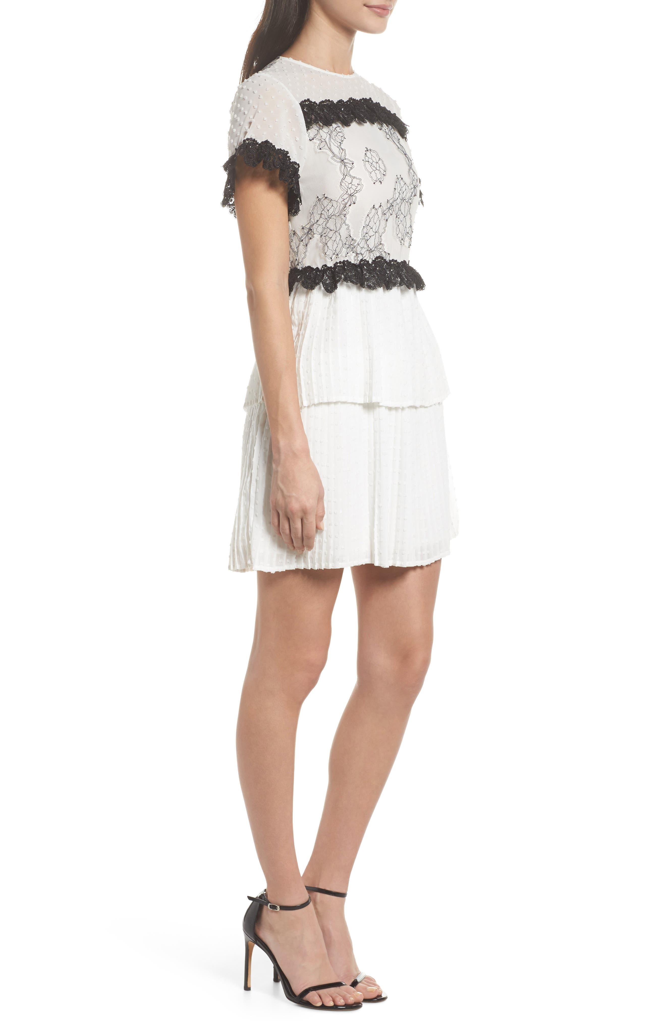 Melita Tiered Lace Dress,                             Alternate thumbnail 3, color,                             White W/ Black Lace