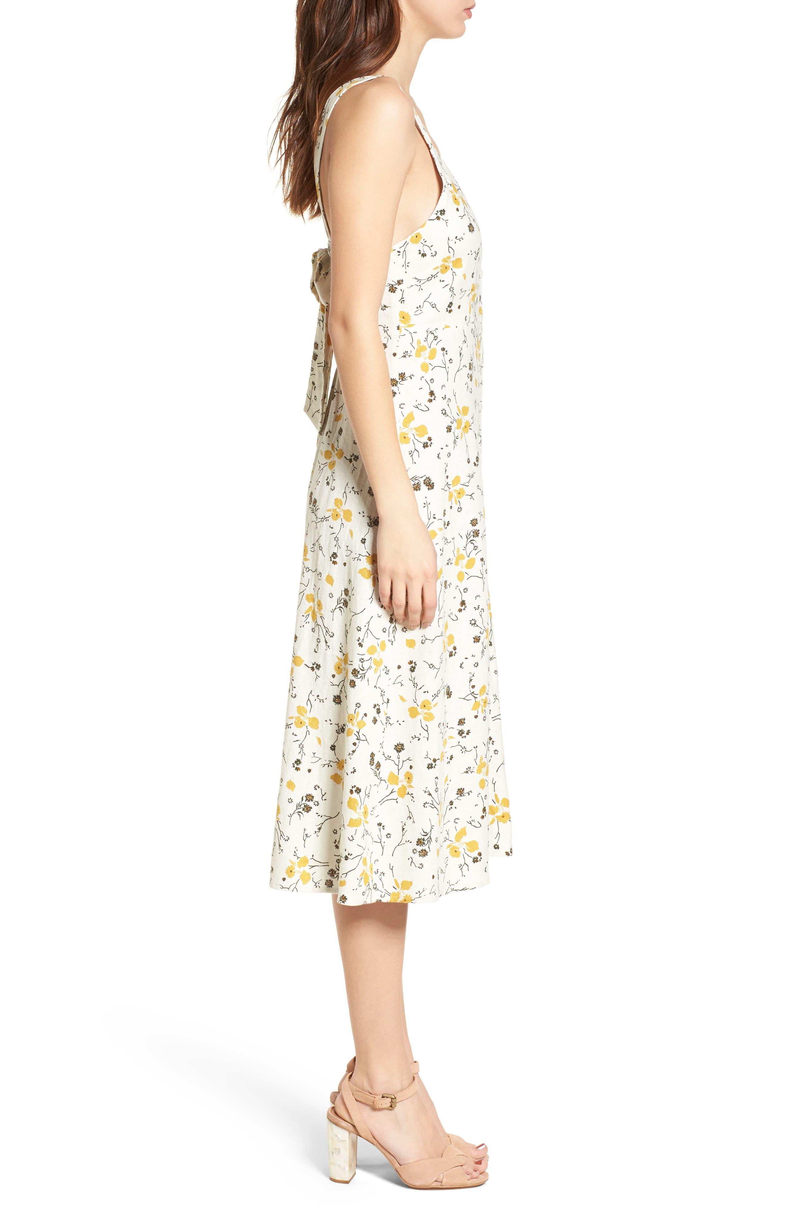 Floral Print Tie Back Midi Dress,                             Alternate thumbnail 3, color,                             Ivory Egret Redux Floral