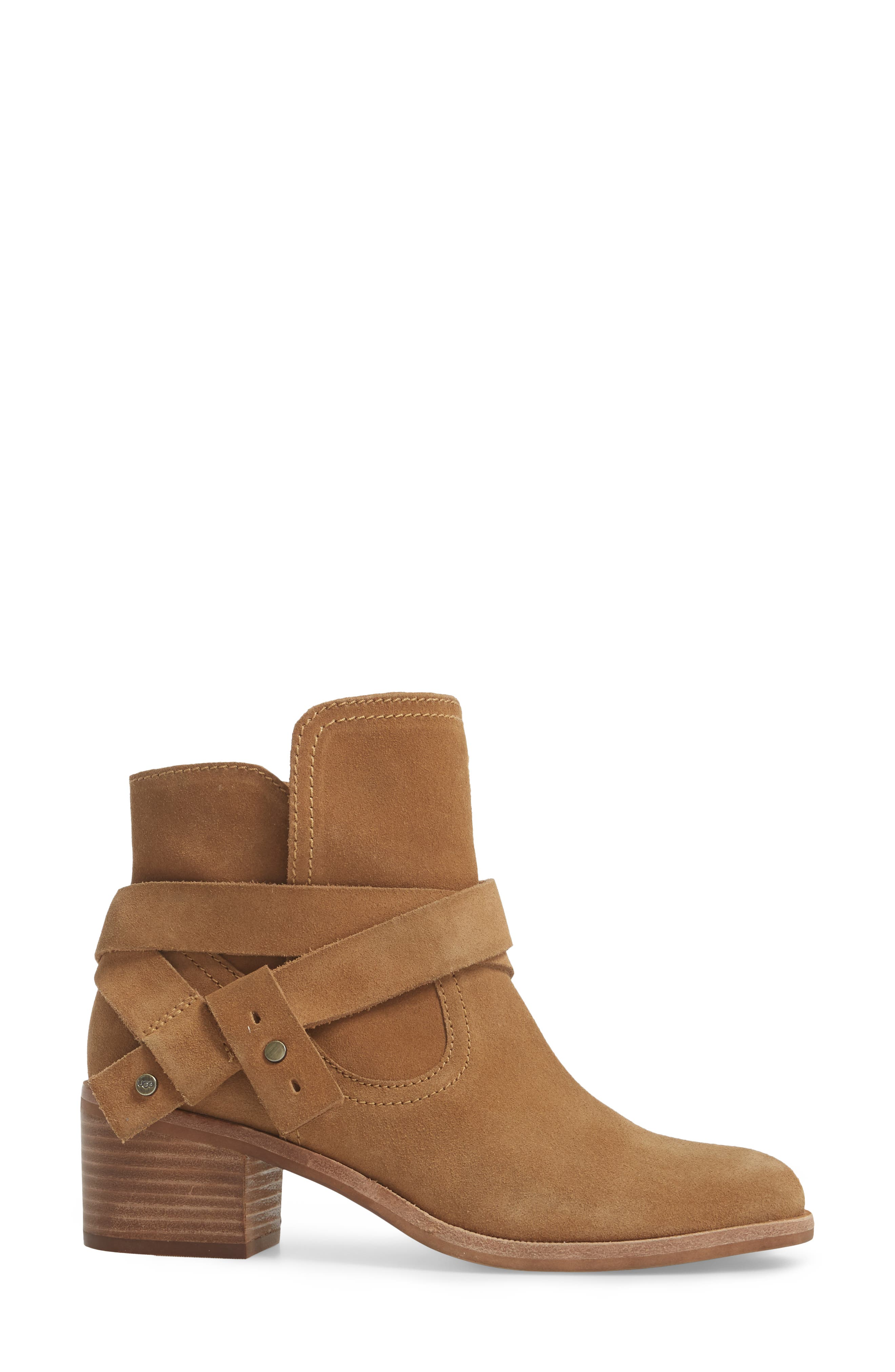 Elora Bootie,                             Alternate thumbnail 3, color,                             Chestnut Suede