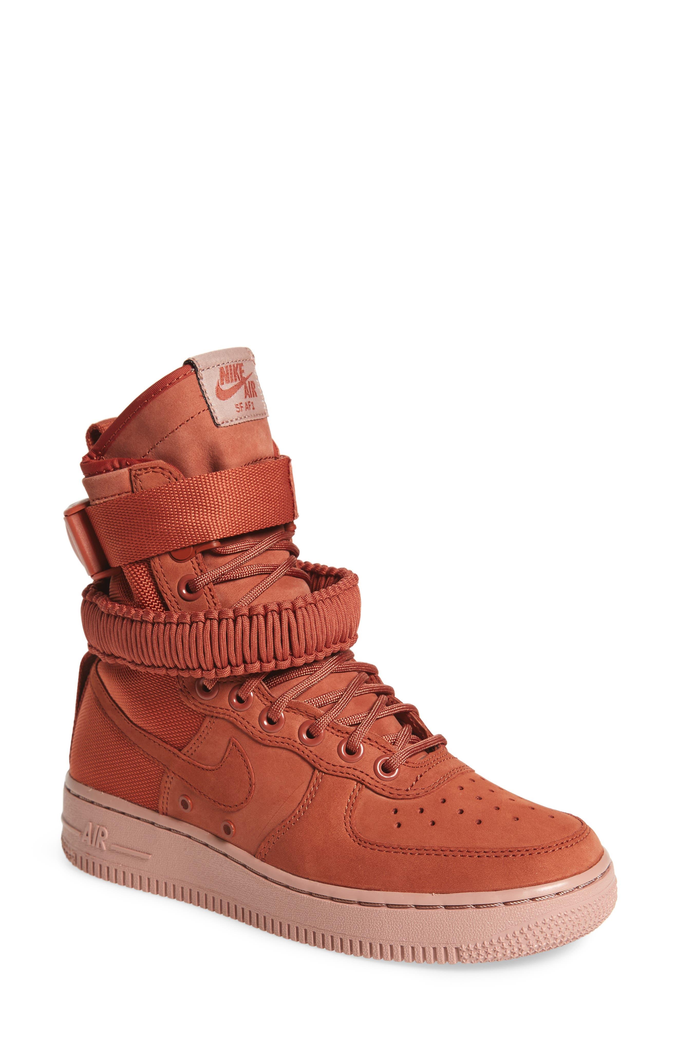 SF Air Force 1 High Top Sneaker,                             Main thumbnail 1, color,                             Dusty Peach/ Dusty Peach