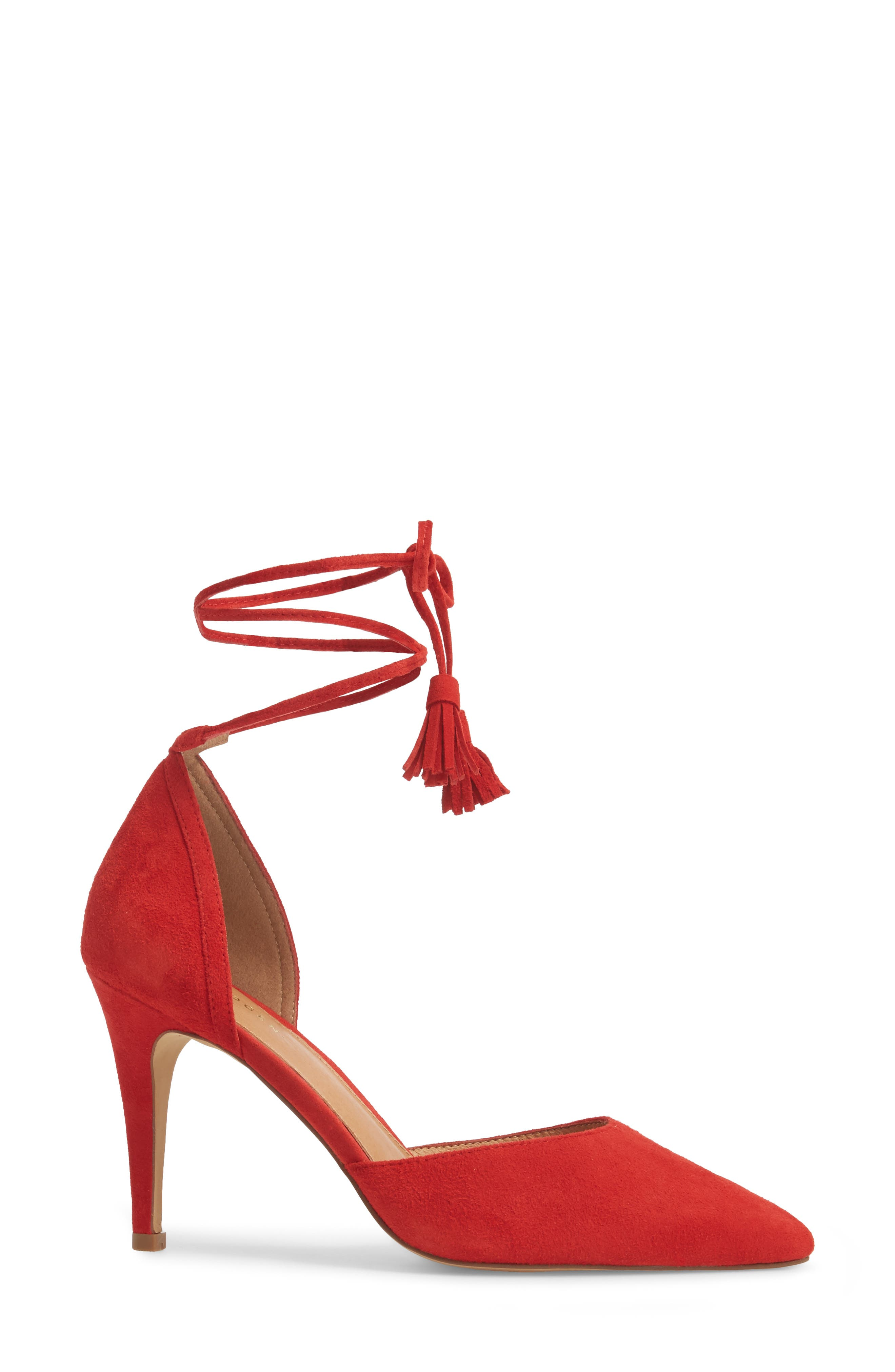 Mindy Lace-Up Pump,                             Alternate thumbnail 3, color,                             Red Suede
