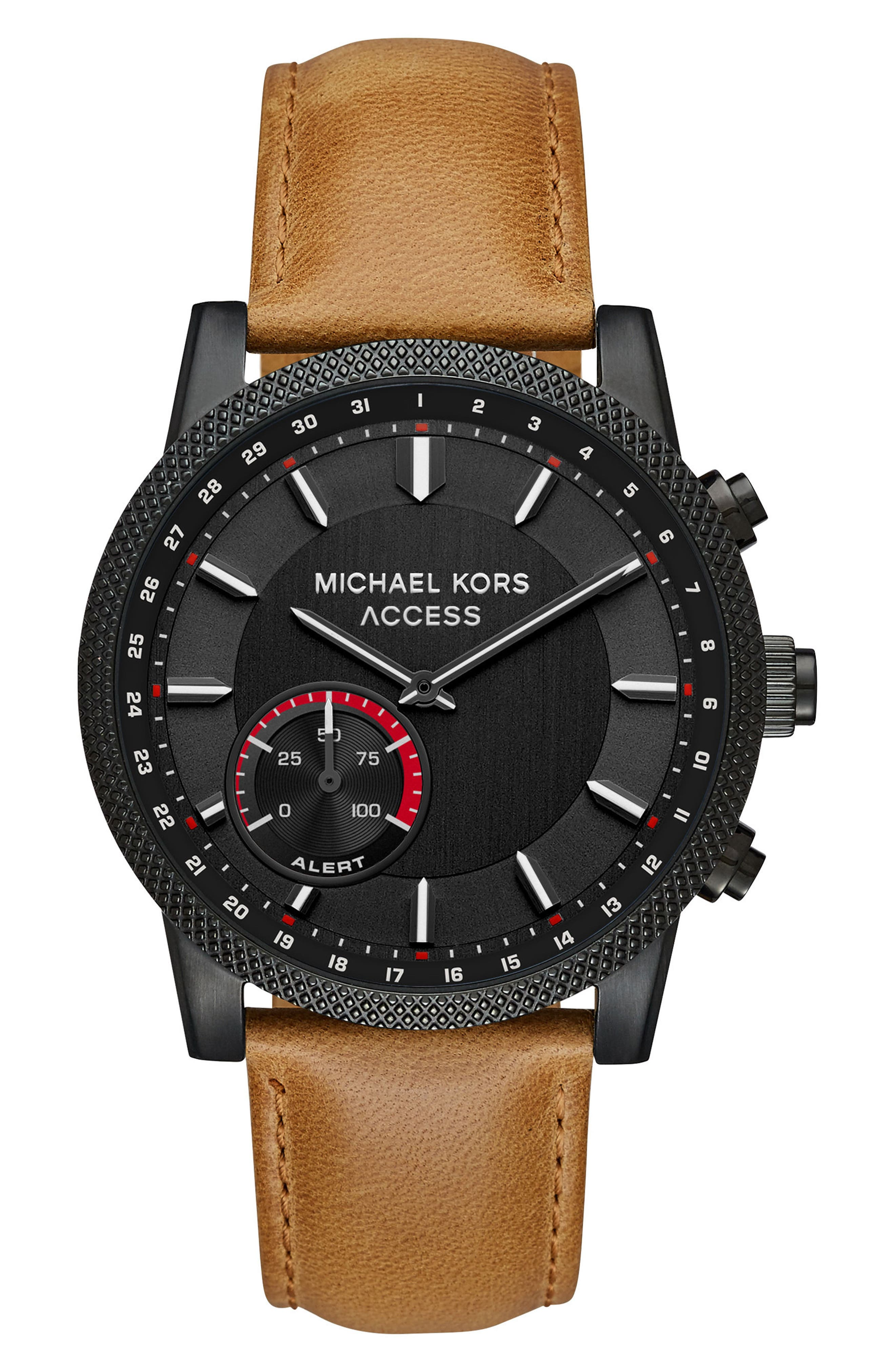 Scout Hybrid Leather Strap Smart Watch, 43mm,                             Main thumbnail 1, color,                             Brown/ Black