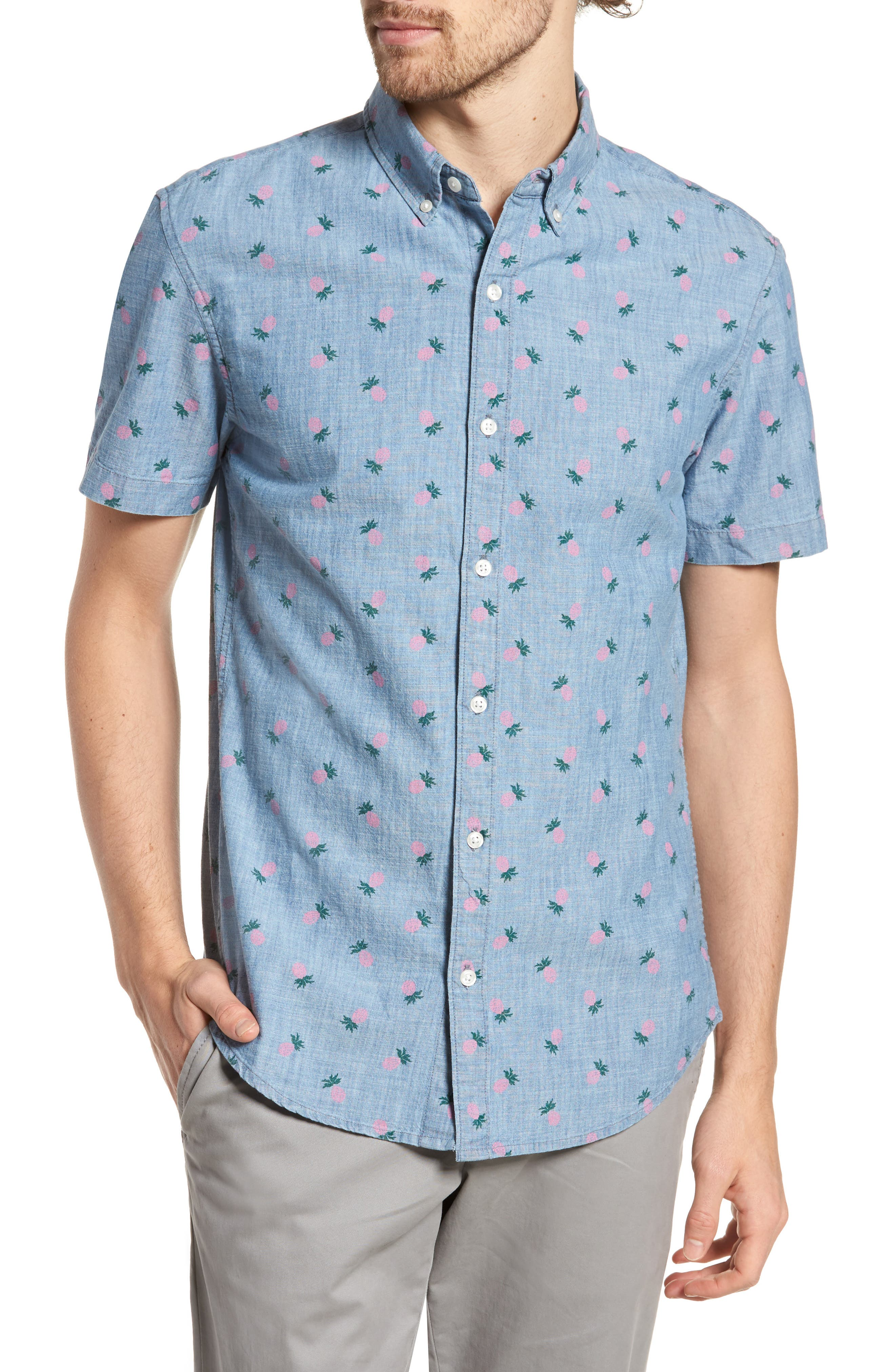 Slim Fit Print Short Sleeve Sport Shirt,                             Main thumbnail 1, color,                             Pineapple Drive - Pink Gin