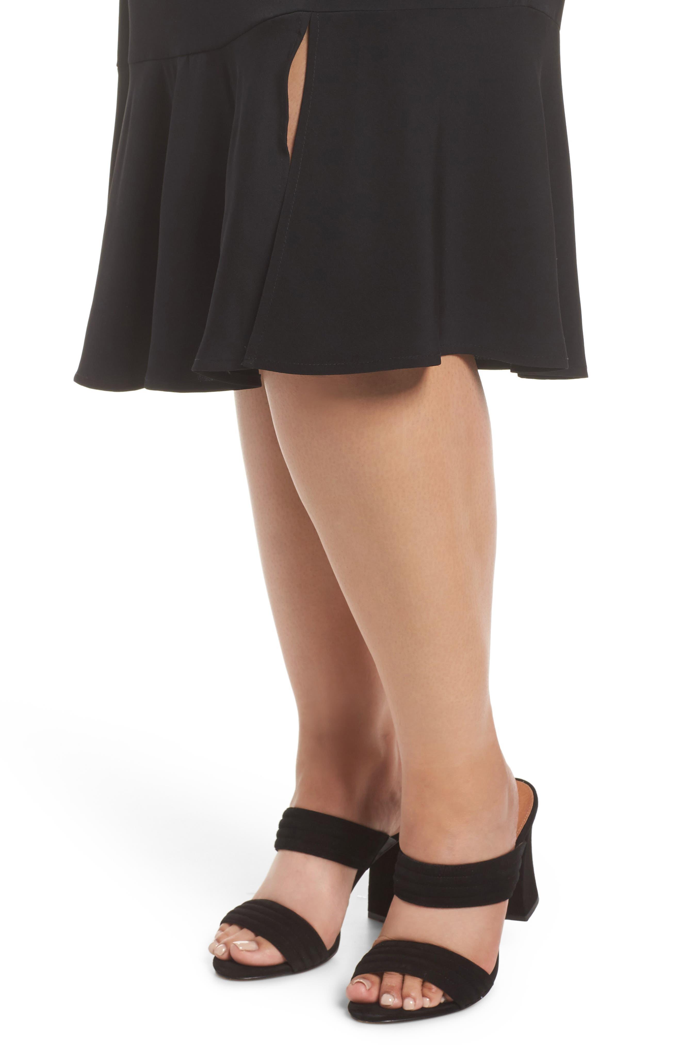 Slit Hem Skirt,                             Alternate thumbnail 4, color,                             Black