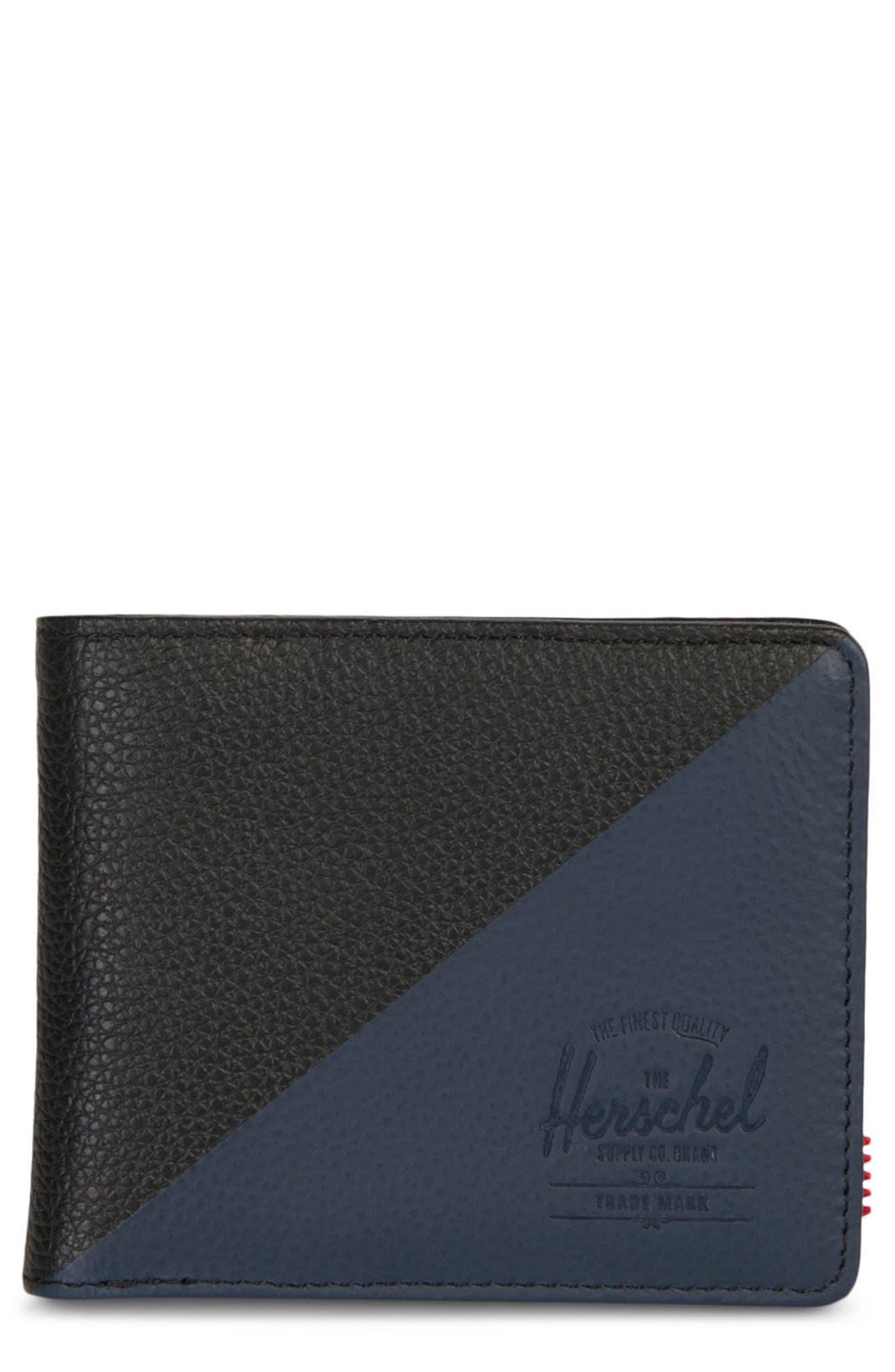 Hank Leather Wallet,                             Main thumbnail 1, color,                             Black