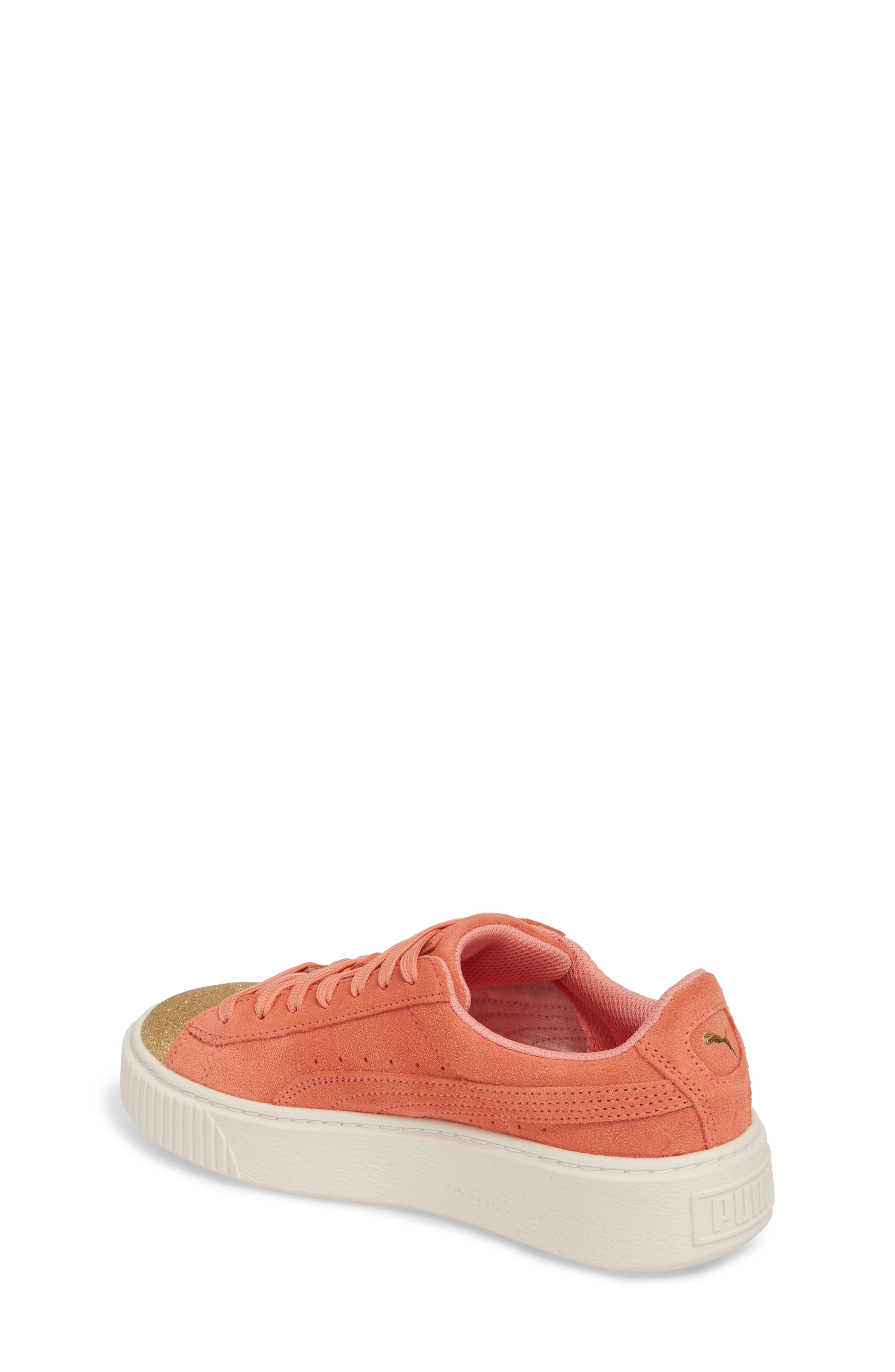 Suede Platform Glam PS Sneaker,                             Alternate thumbnail 2, color,                             Puma Team Gold/ Shell Pink